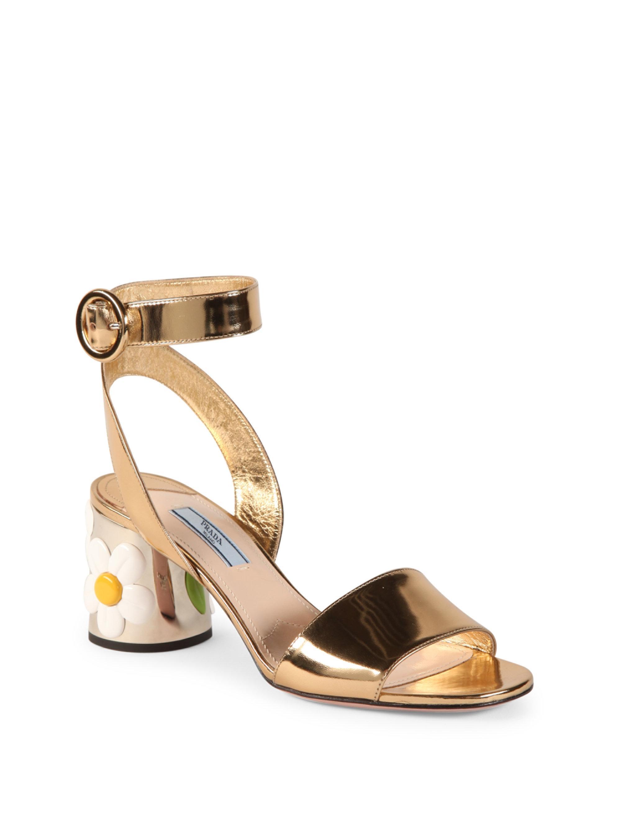 ade638120bbb Lyst - Prada Flower-heel Metallic Leather Ankle-strap Sandals in ...