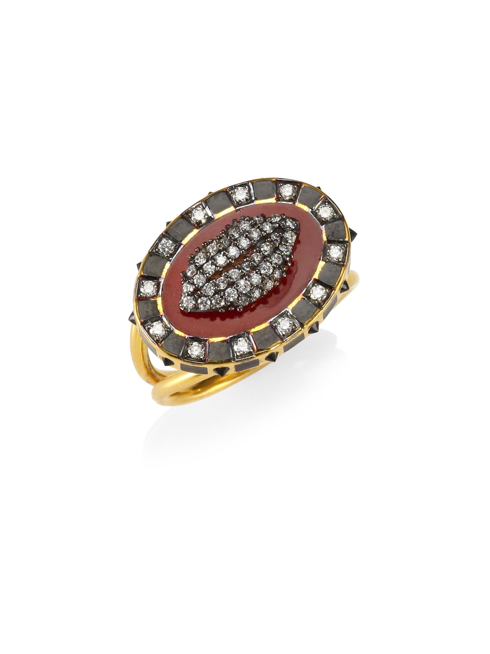 Holly Dyment 18k yellow gold Glam lip diamond ring pHchr7