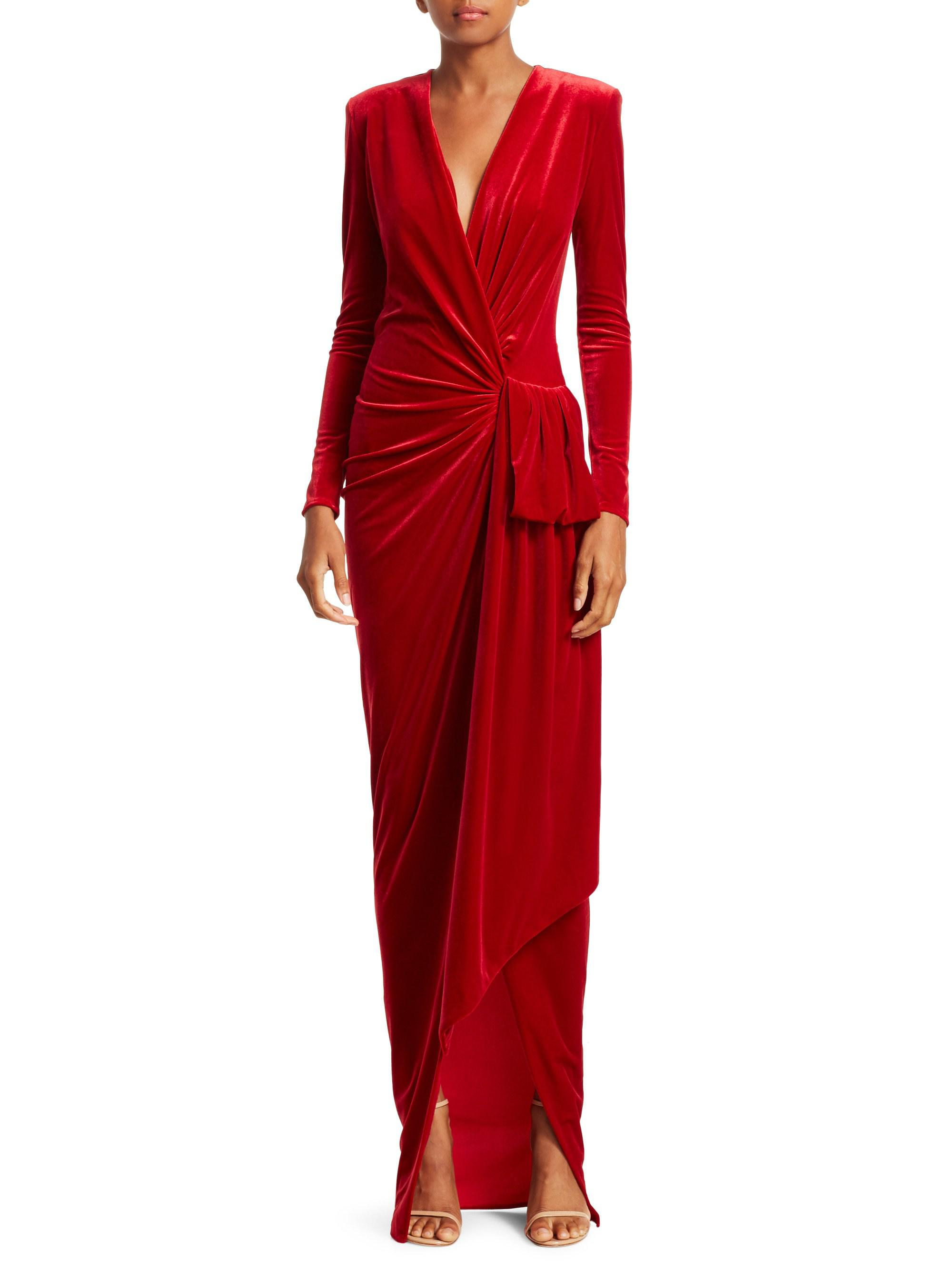 27196978d7 Alexandre Vauthier Draped Velvet Maxi Wrap Gown in Red - Lyst