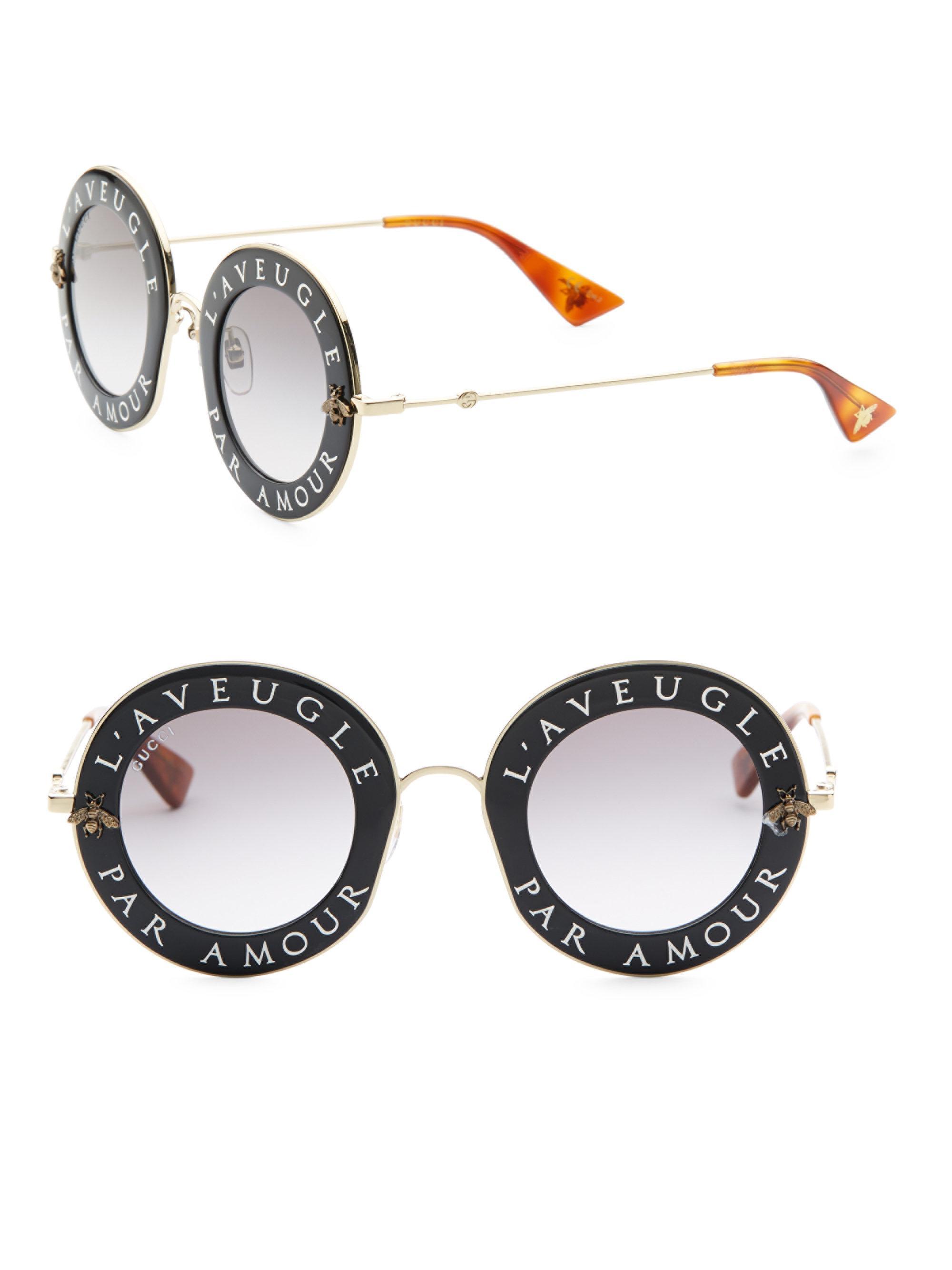 3503f766c6d Lyst - Gucci 44mm L aveugle Par Amour Round Sunglasses in Black