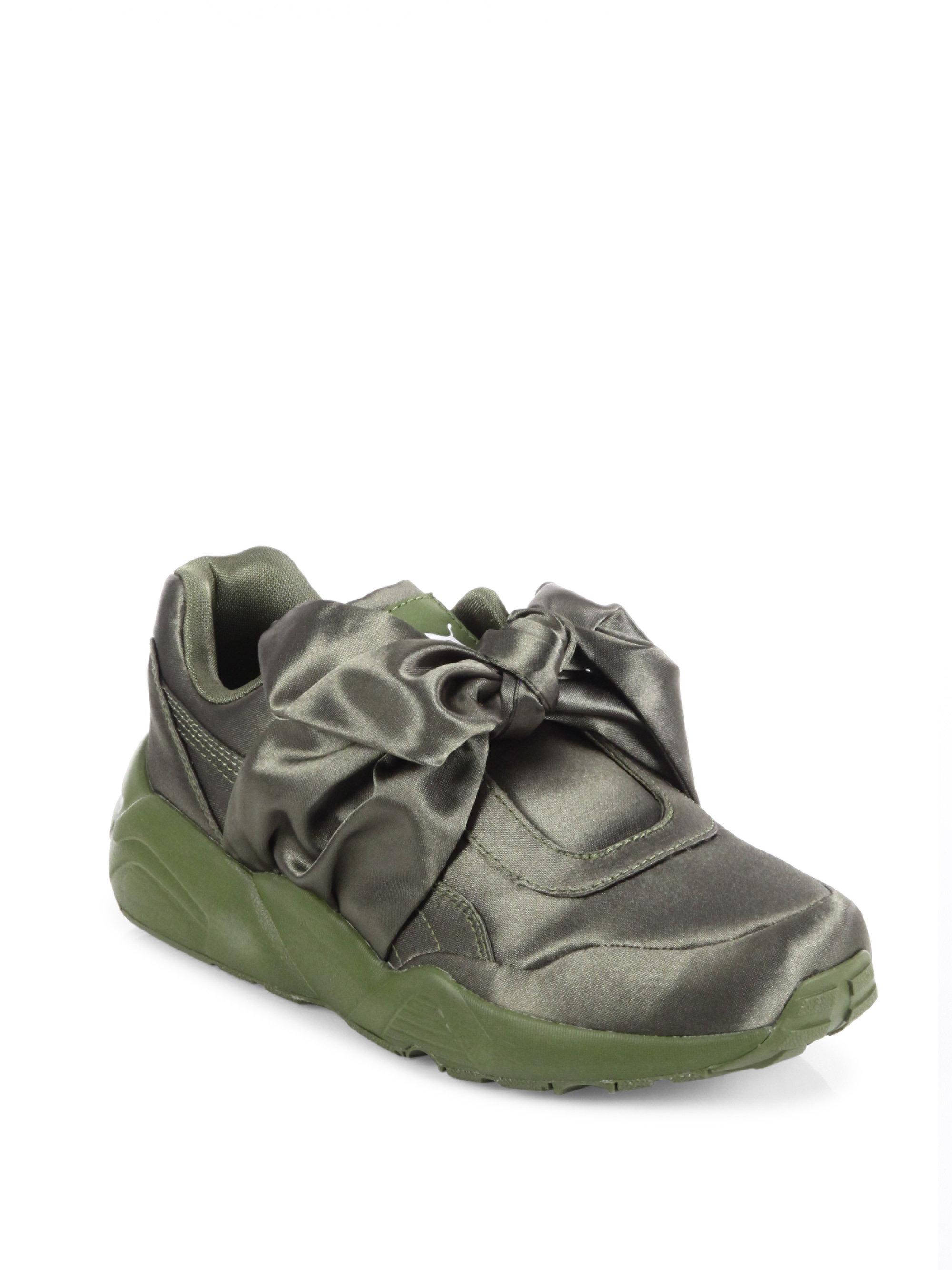 buy cheap 154f9 d4356 PUMA Fenty X Rihanna Satin Bow Sneakers in Green - Lyst