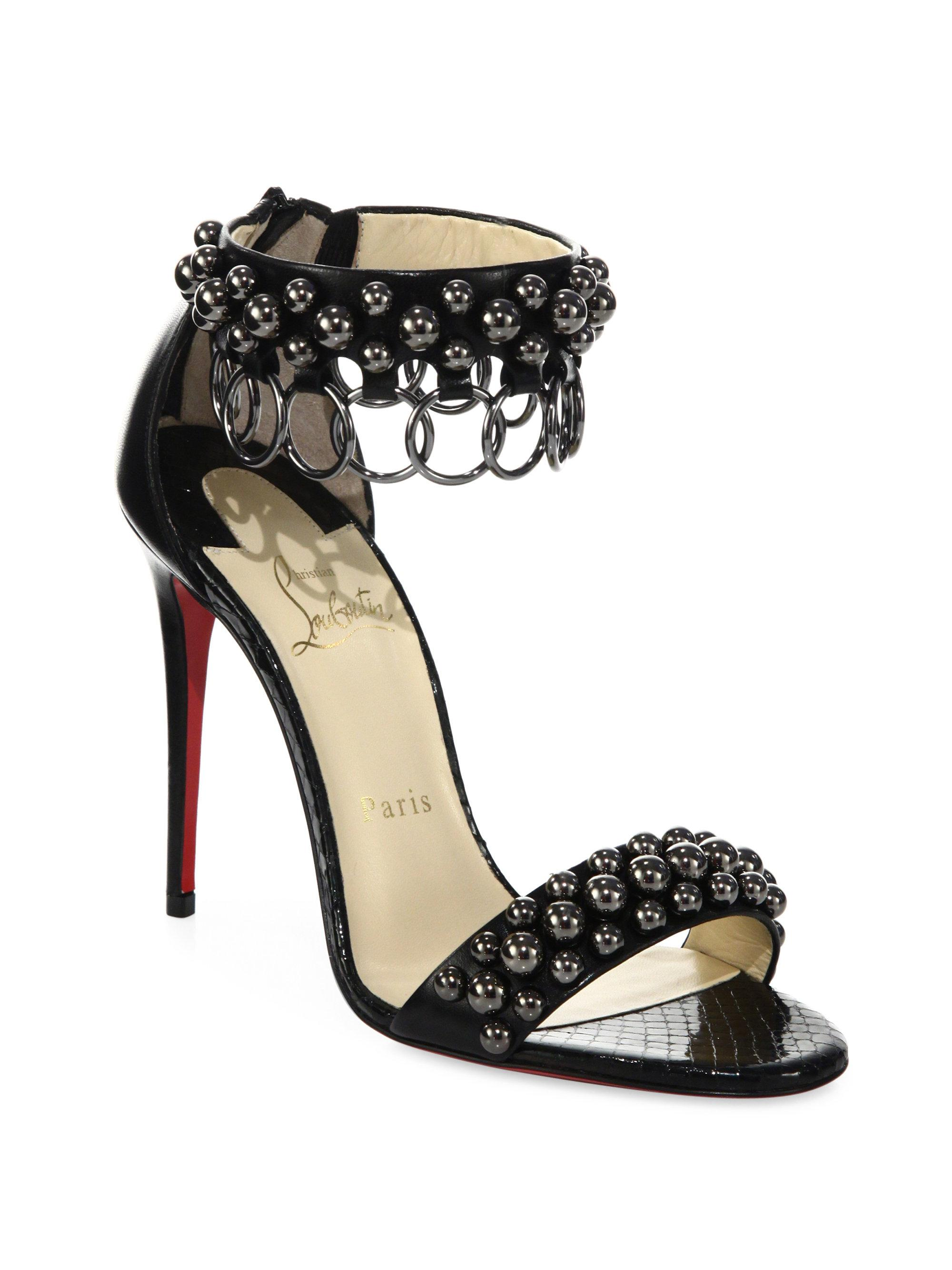 sale perfect wide range of cheap price Christian Louboutin Embellished Leather Sandals cheap best prices discount classic WETWfwxY