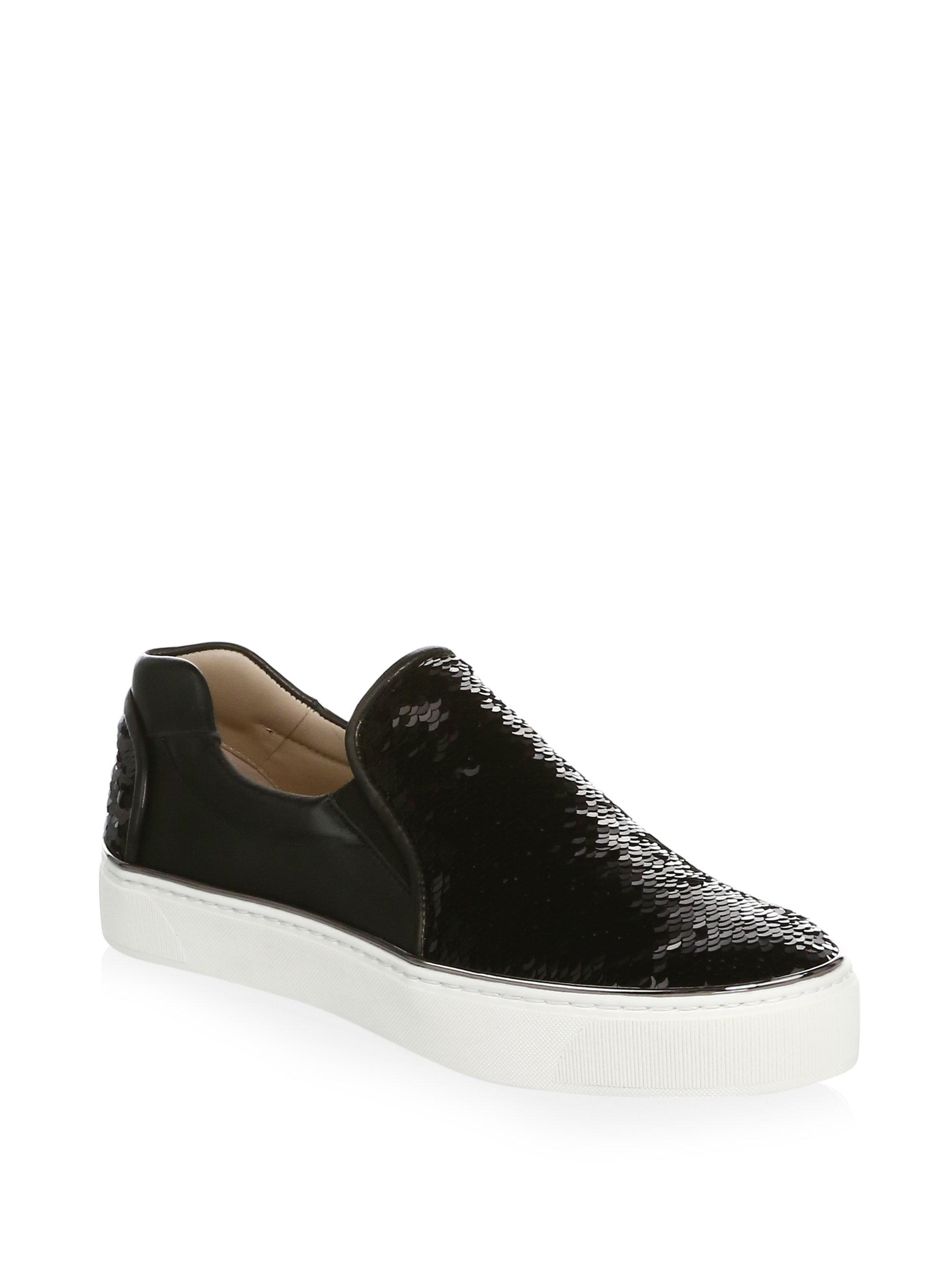 Stuart Weitzman Sequined Leather Sneakers n3AbK5nK