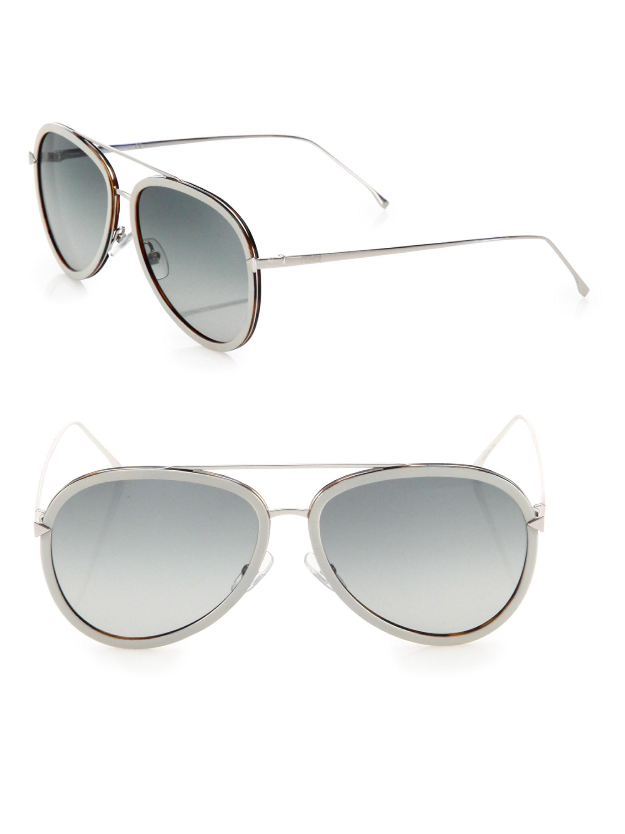 8e99f1a8e3 Lyst - Fendi Women s 57mm Aviator Sunglasses - Black in Black