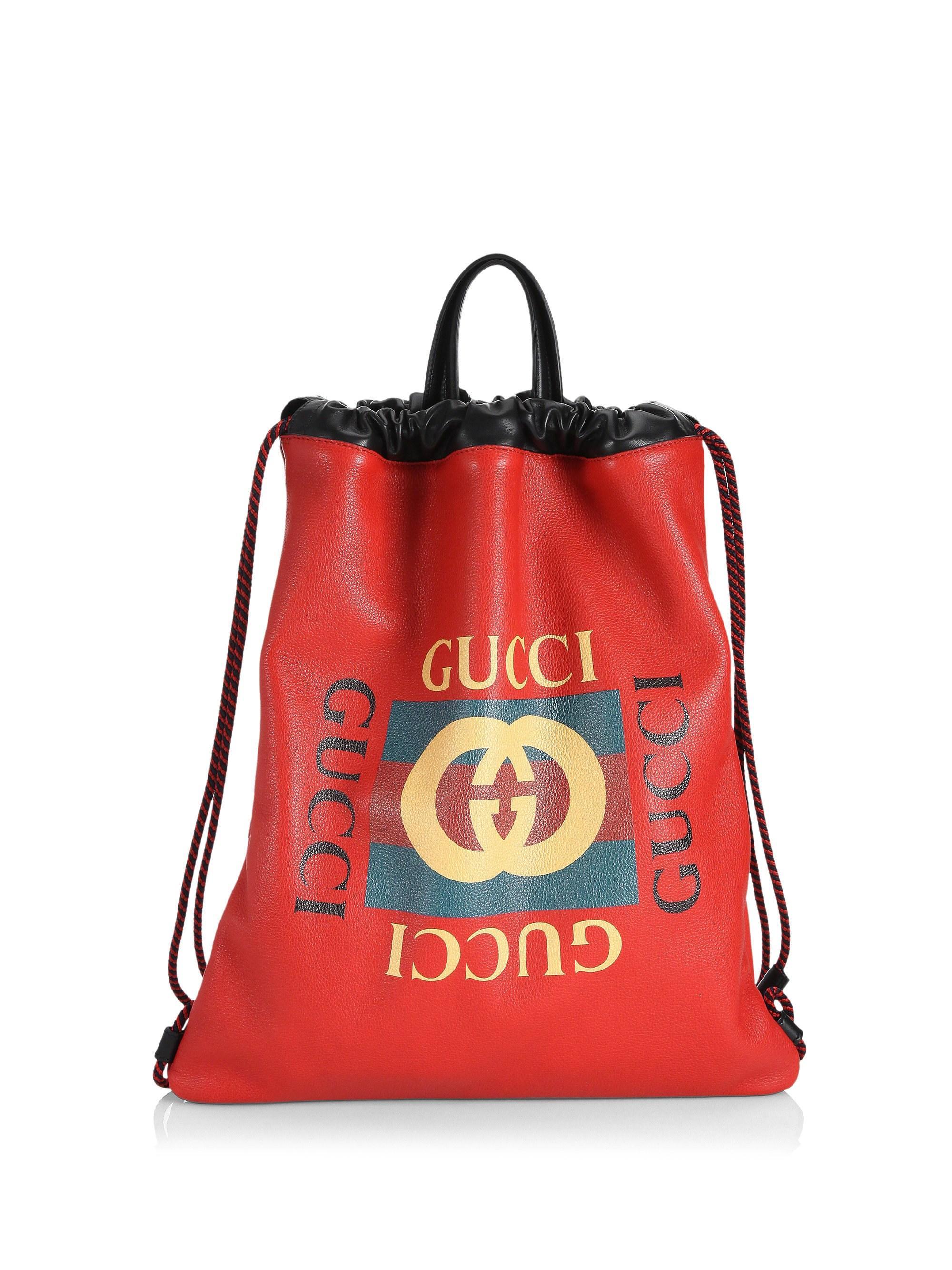 883b473bdf1c Gucci - Men s Logo Leather Drawstring Backpack - Red Green for Men - Lyst.  View fullscreen
