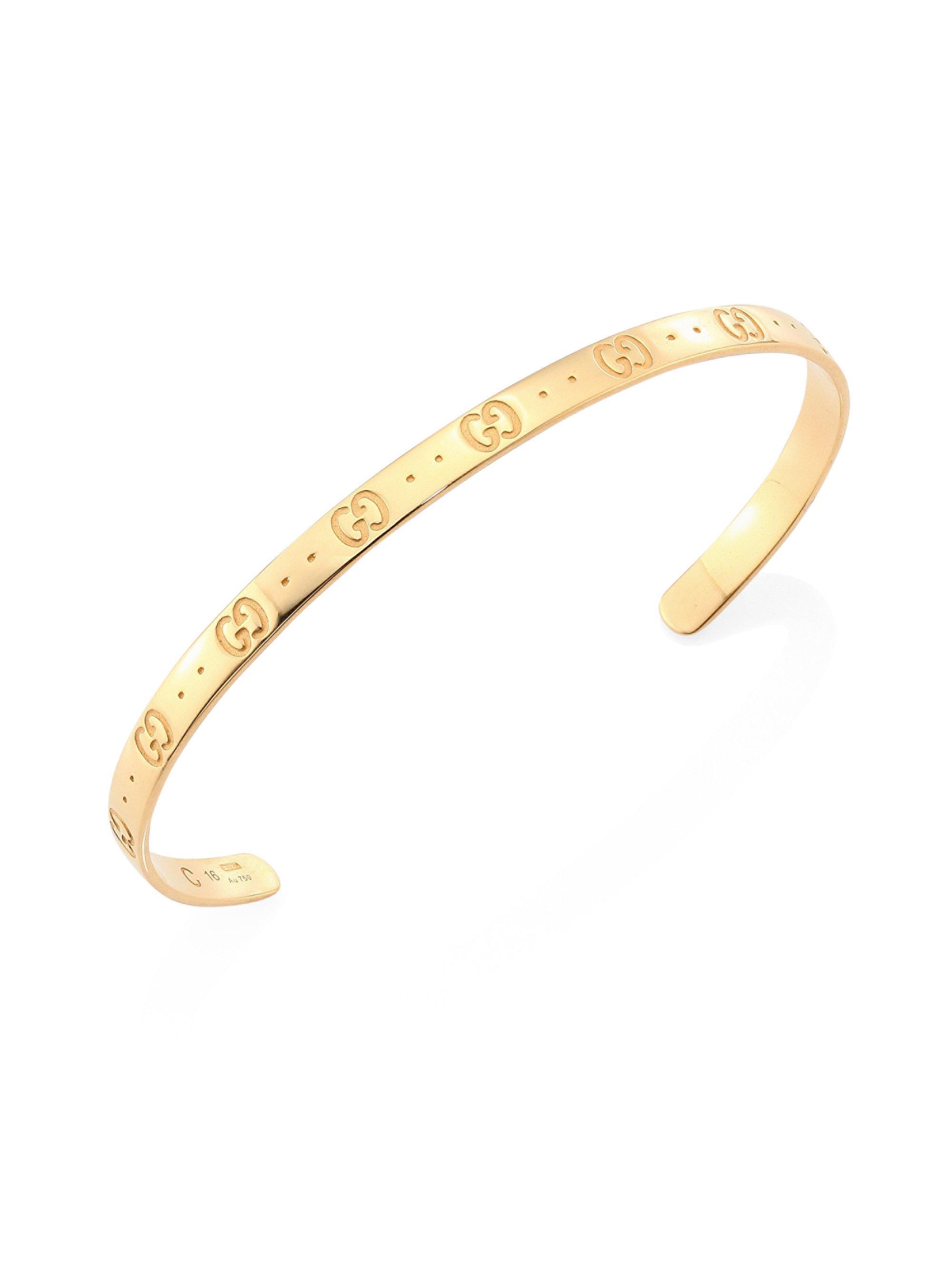 Gucci Women S Metallic Icon 18k Yellow Gold Bangle Bracelet