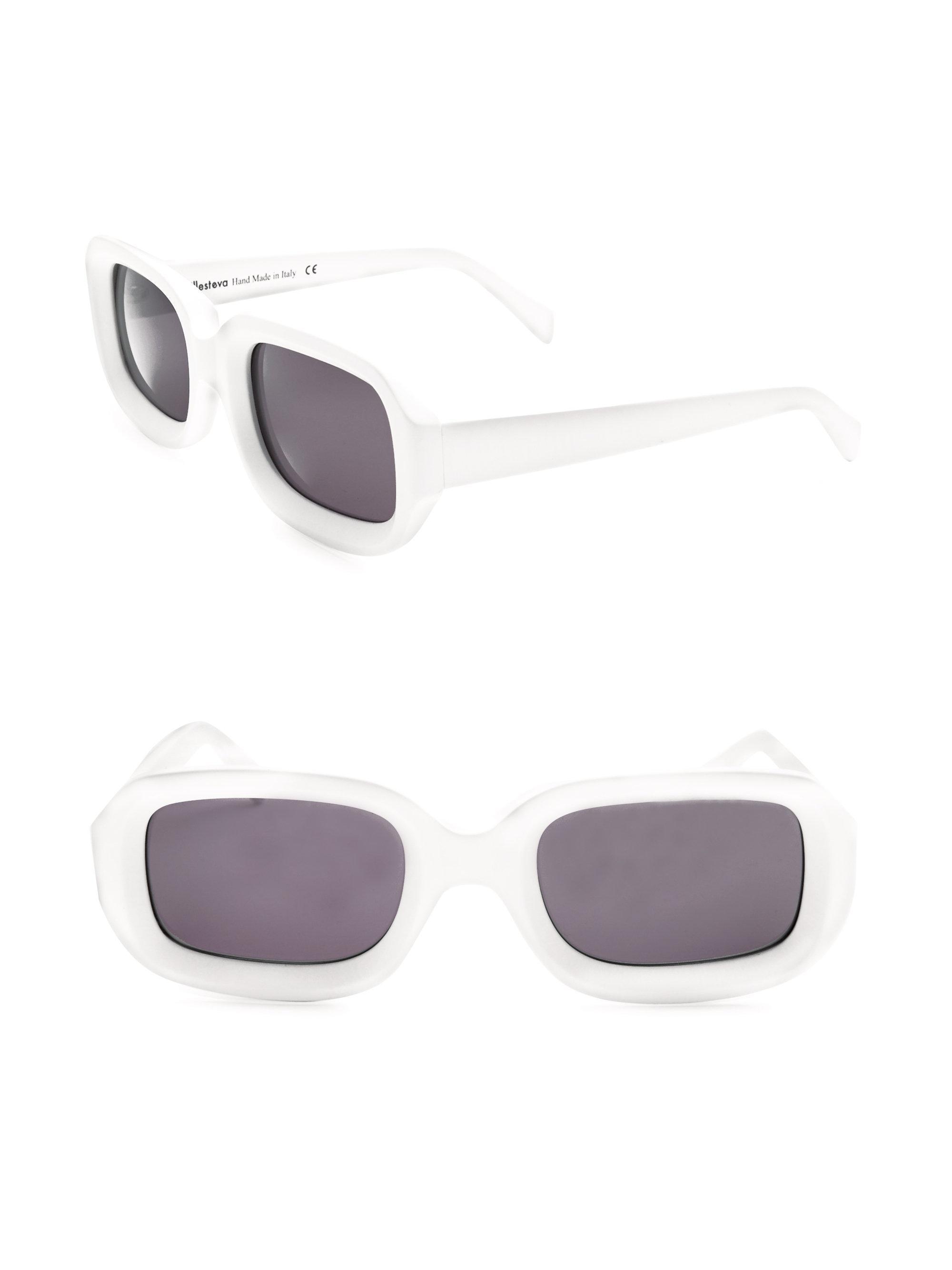white Vinyl rectangular acetate sunglasses Illesteva U9HtRDO7