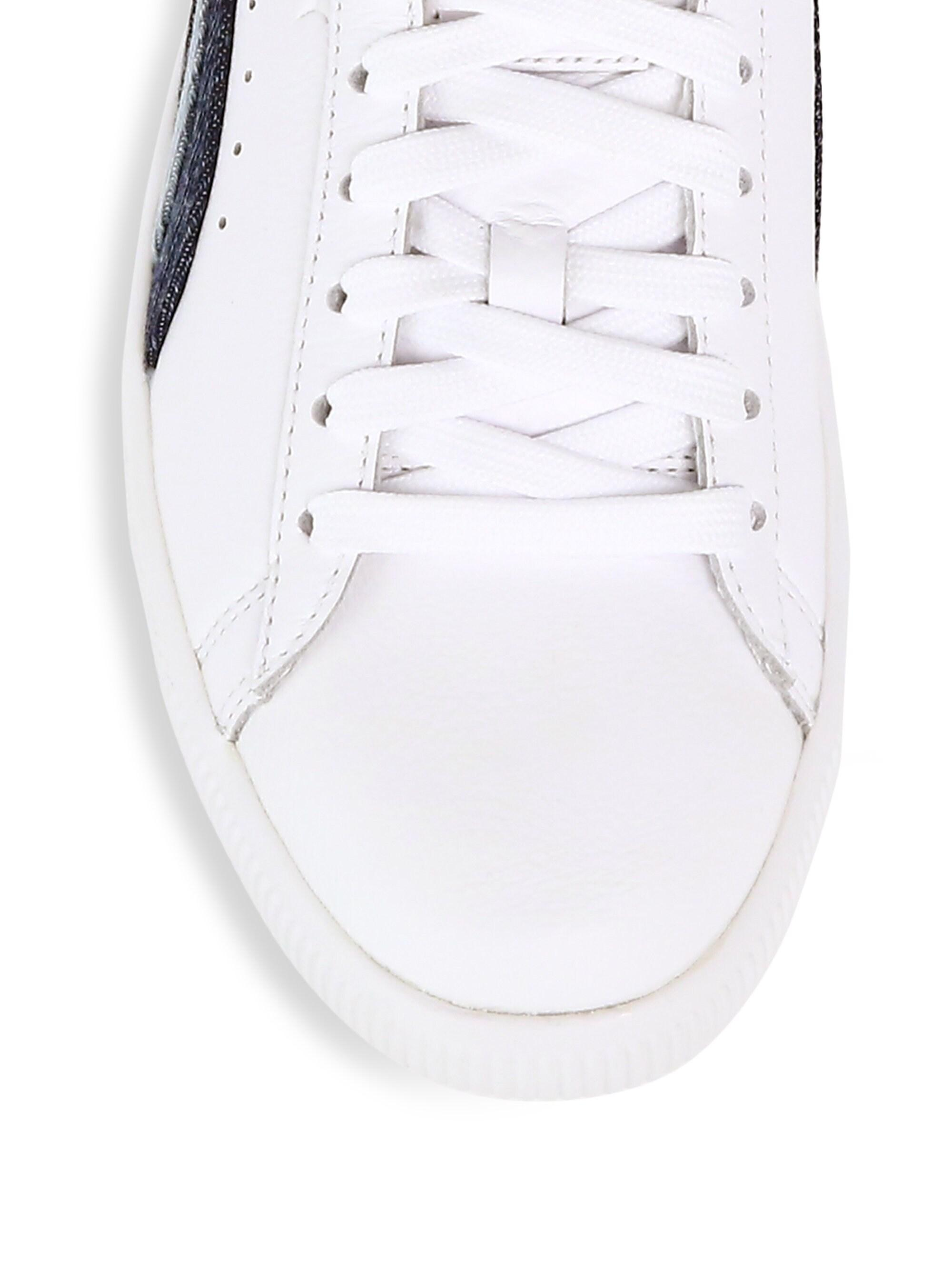 9a57e5247dff Lyst - PUMA Women s Clyde Denim Leather Sneakers - White in White