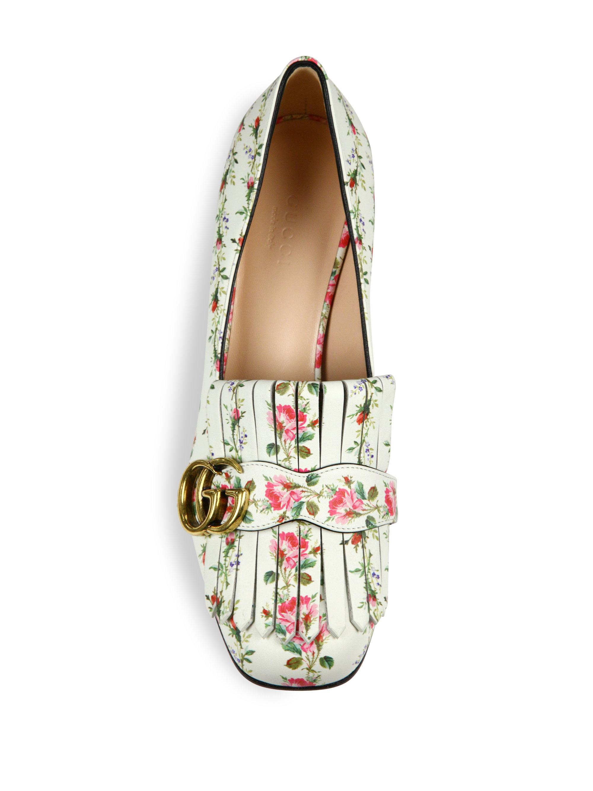 436c9e2ffd6 Lyst - Gucci Marmont Gg Kiltie Rose-print Leather Loafers