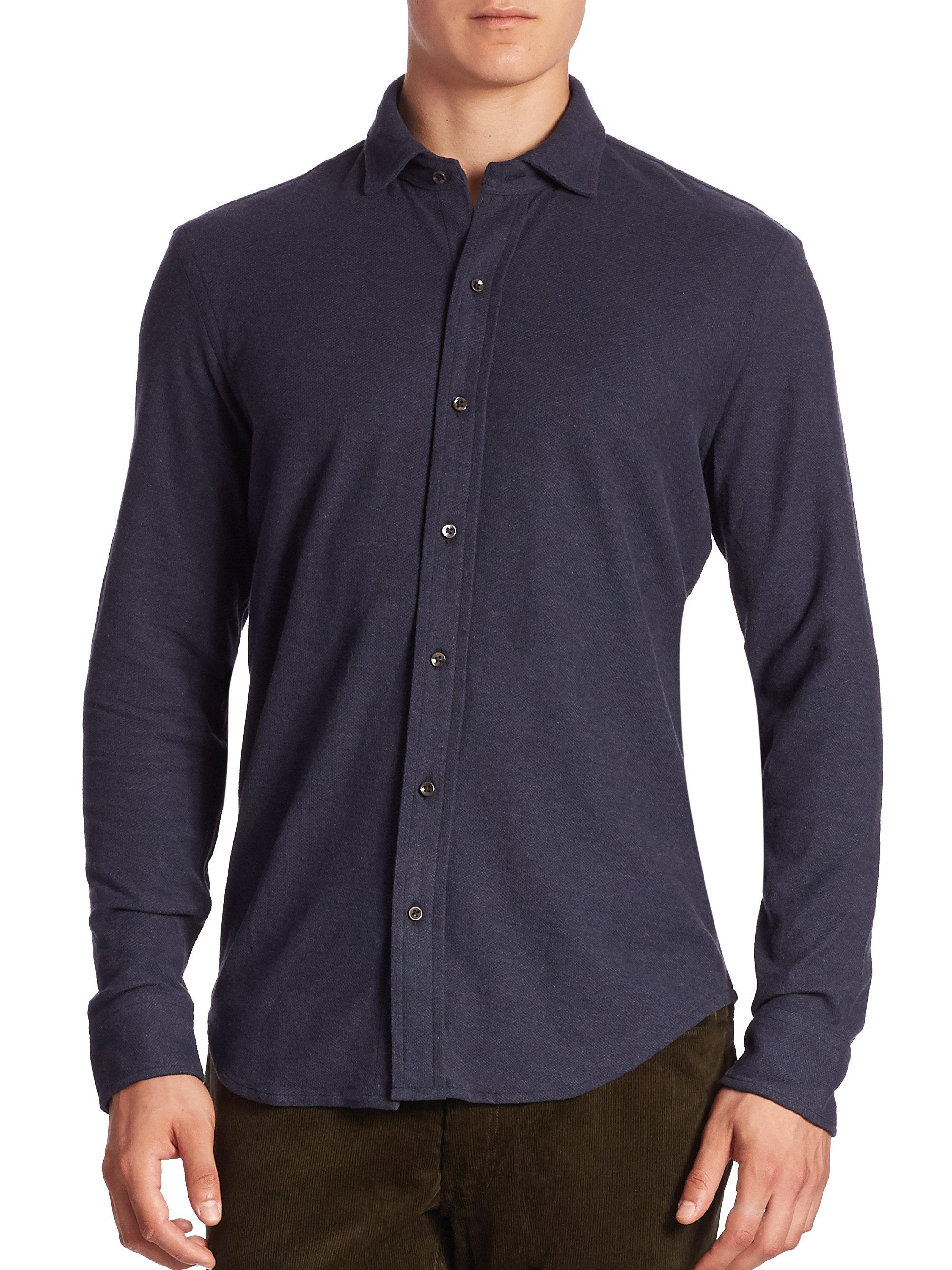 Polo Ralph Lauren Solid Casual Button Down Shirt In Blue