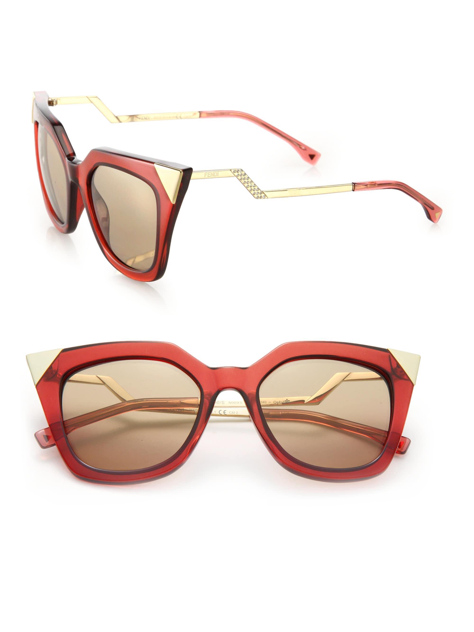 2a9abb07853 Fendi Zig-zag 52mm Cat Eye Sunglasses in Metallic - Lyst