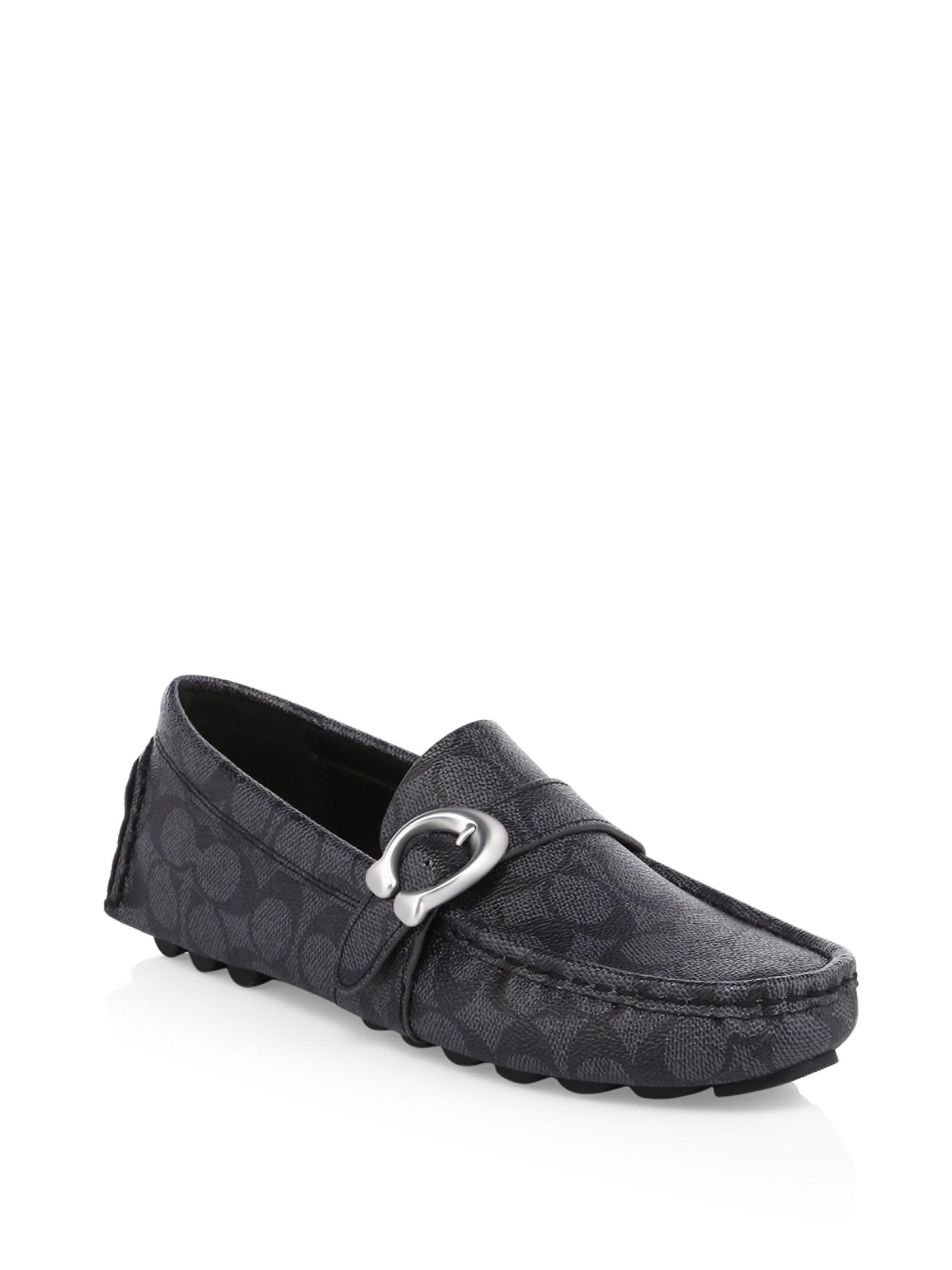 Coach Logo C Strap Driver Loafers