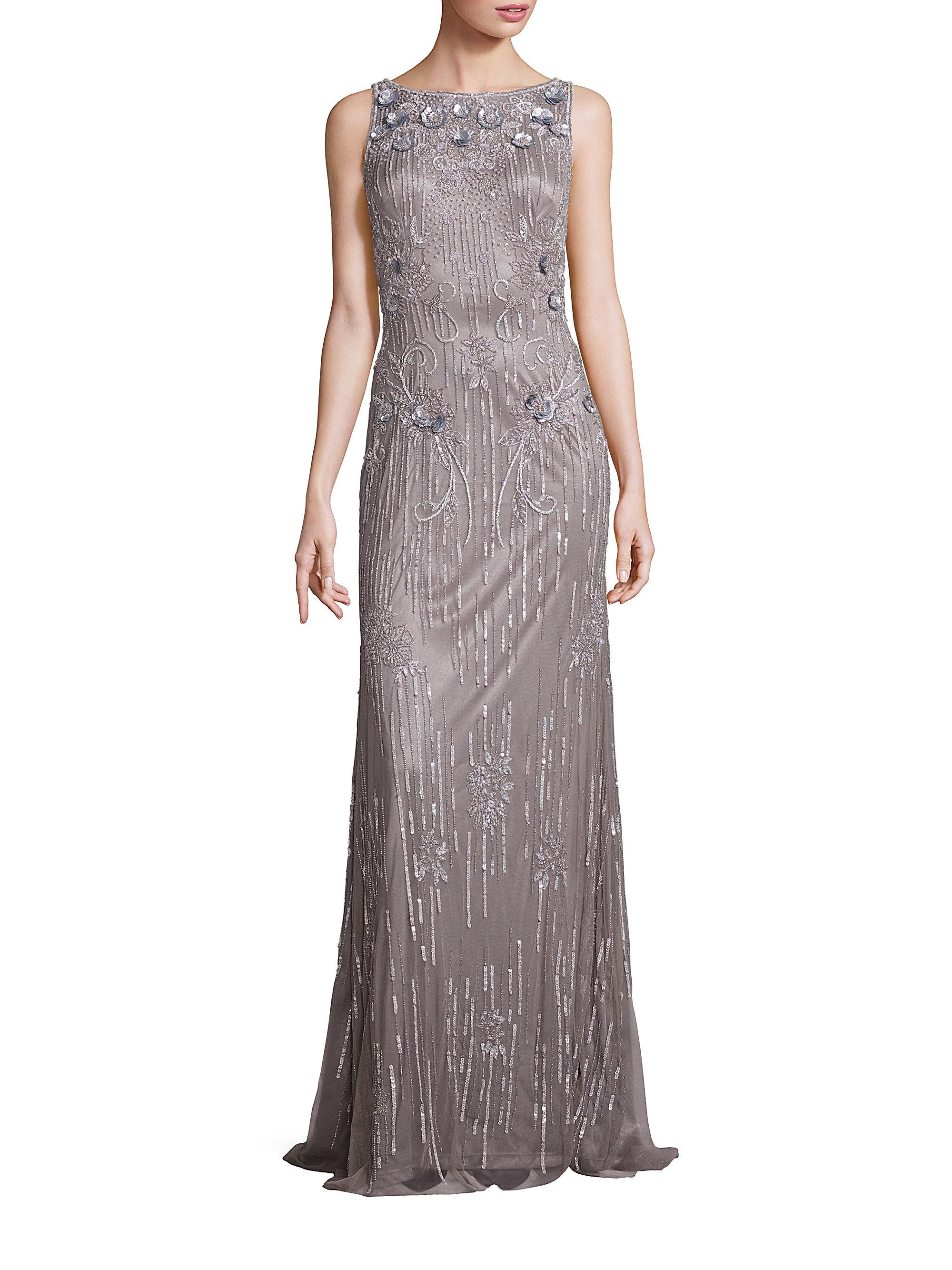 6a38f26aff54 Lyst - THEIA Sleeveless Sequin Beaded Gown in Metallic