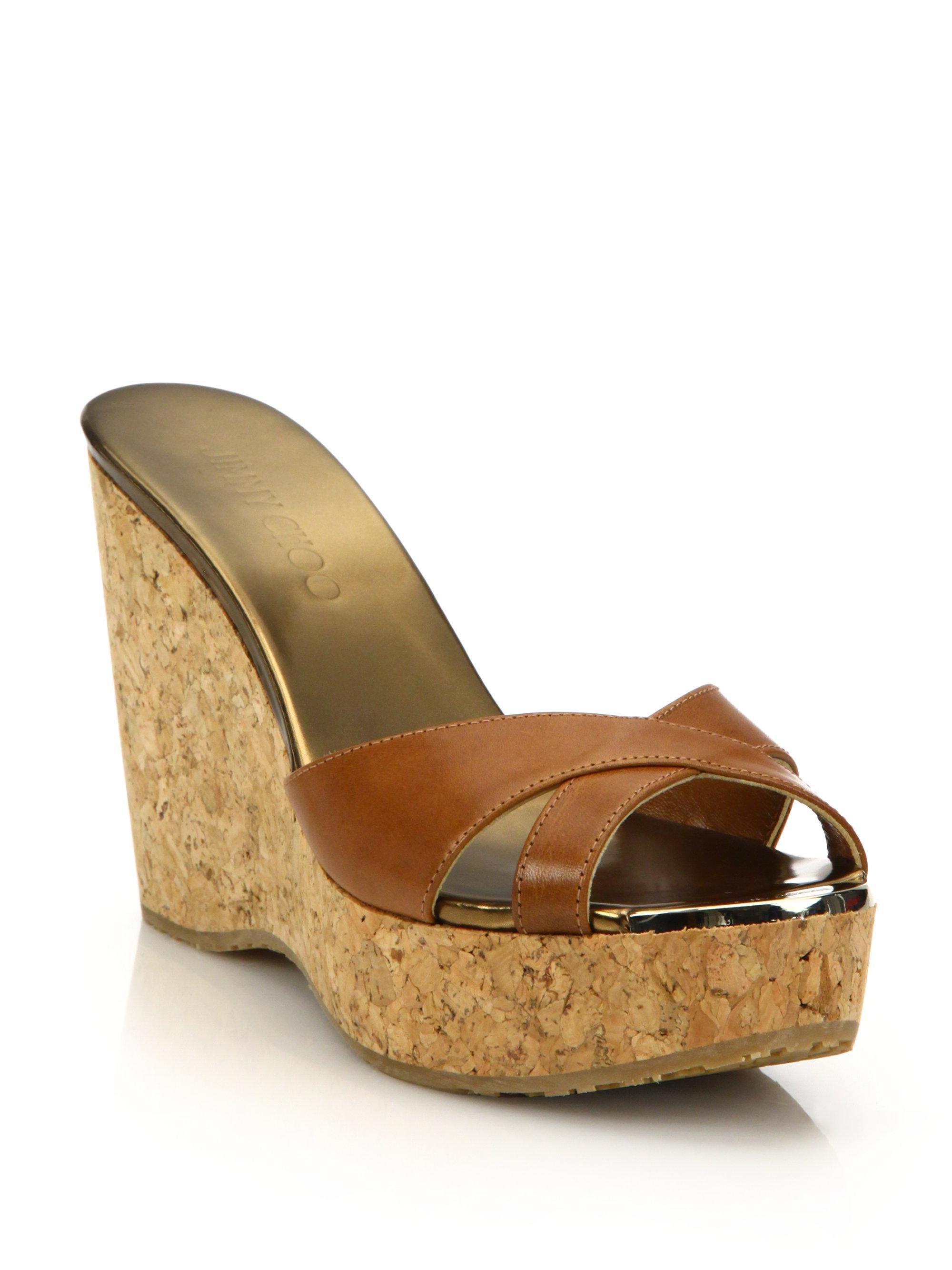 dc5890e08541 Lyst - Jimmy Choo Perfume 100 Leather   Cork Platform Wedge Sandals ...