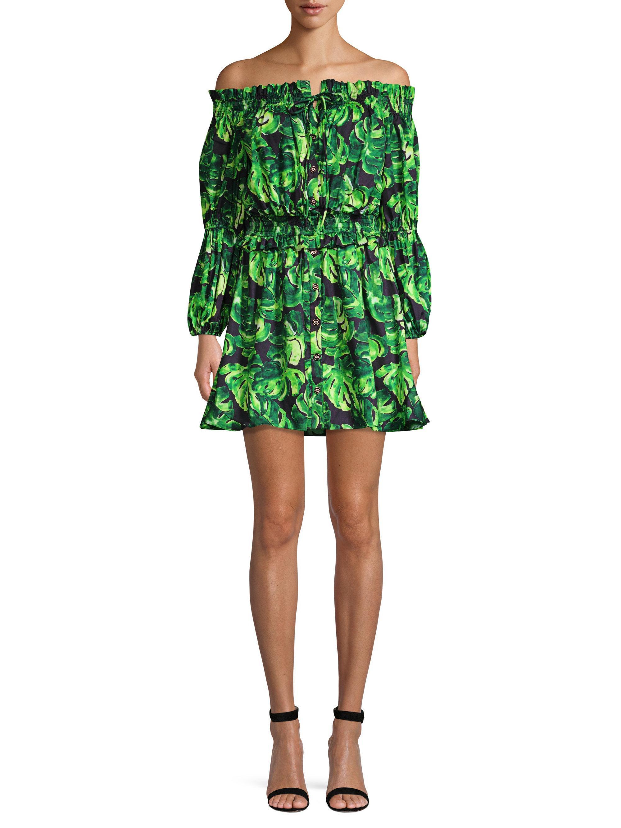 1dd71cf94ccb Lyst - Caroline Constas Printed Off-shoulder Peasant Dress in Green