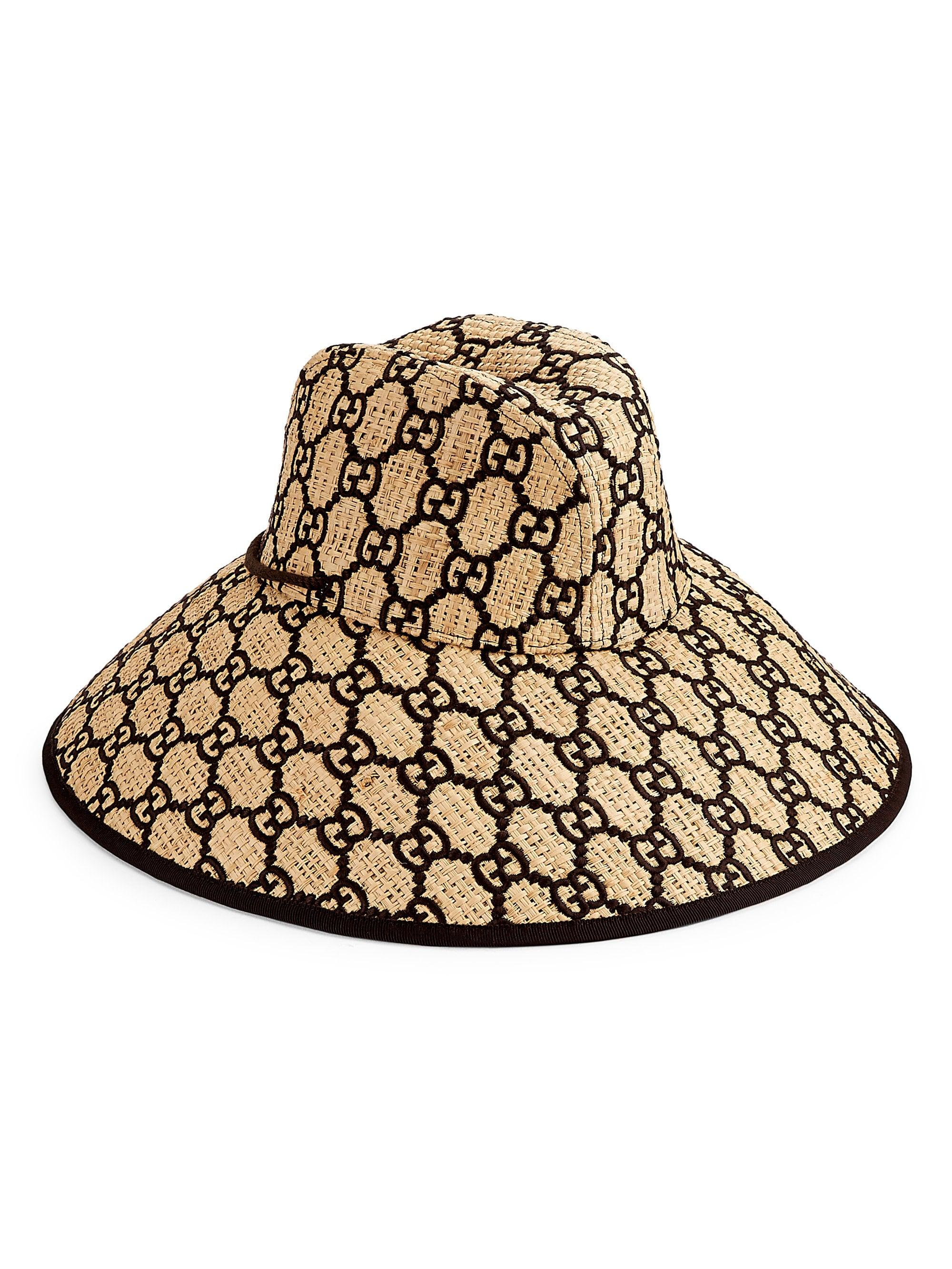 5798739bc1dbe7 Lyst - Gucci Gg Logo Wide Brimmed Raffia Hat