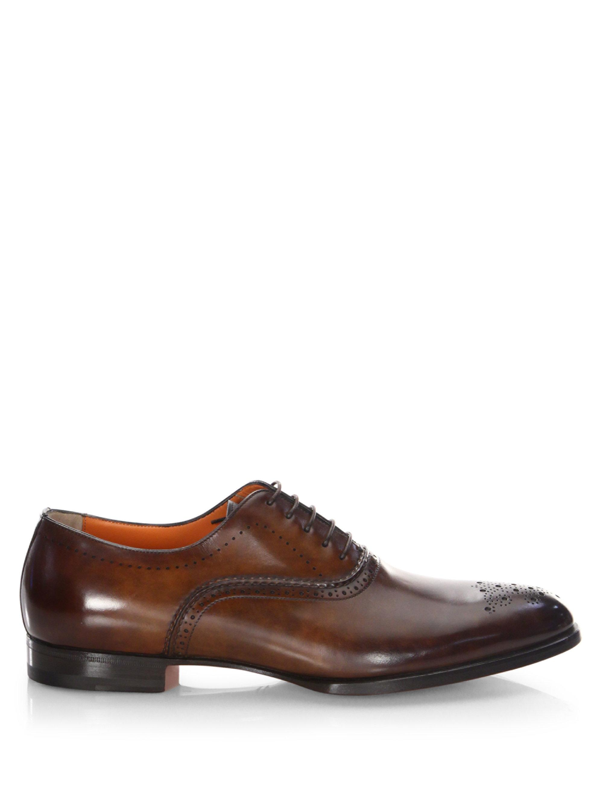 santoni Hand-Stitched Leather Oxfords wuyRP