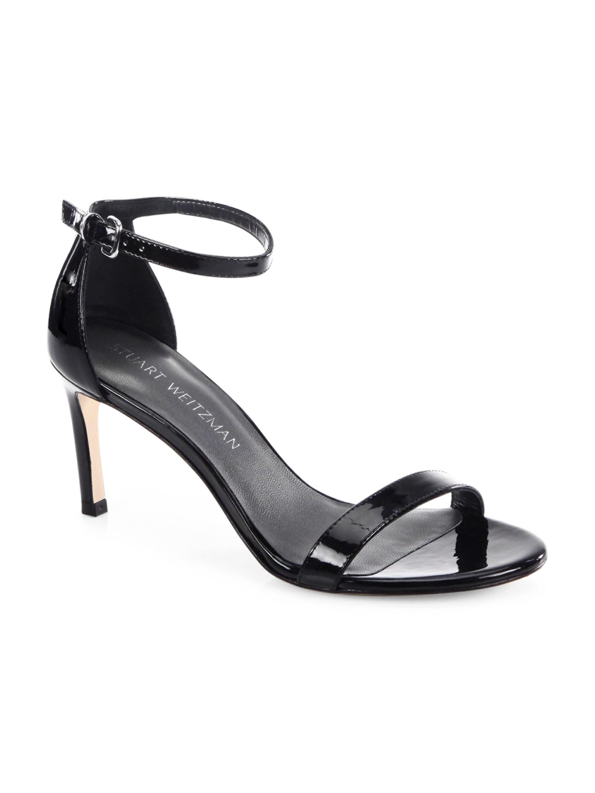 4cf21c810075 Lyst - Stuart Weitzman Nunakedstraight Patent Leather Ankle-strap ...