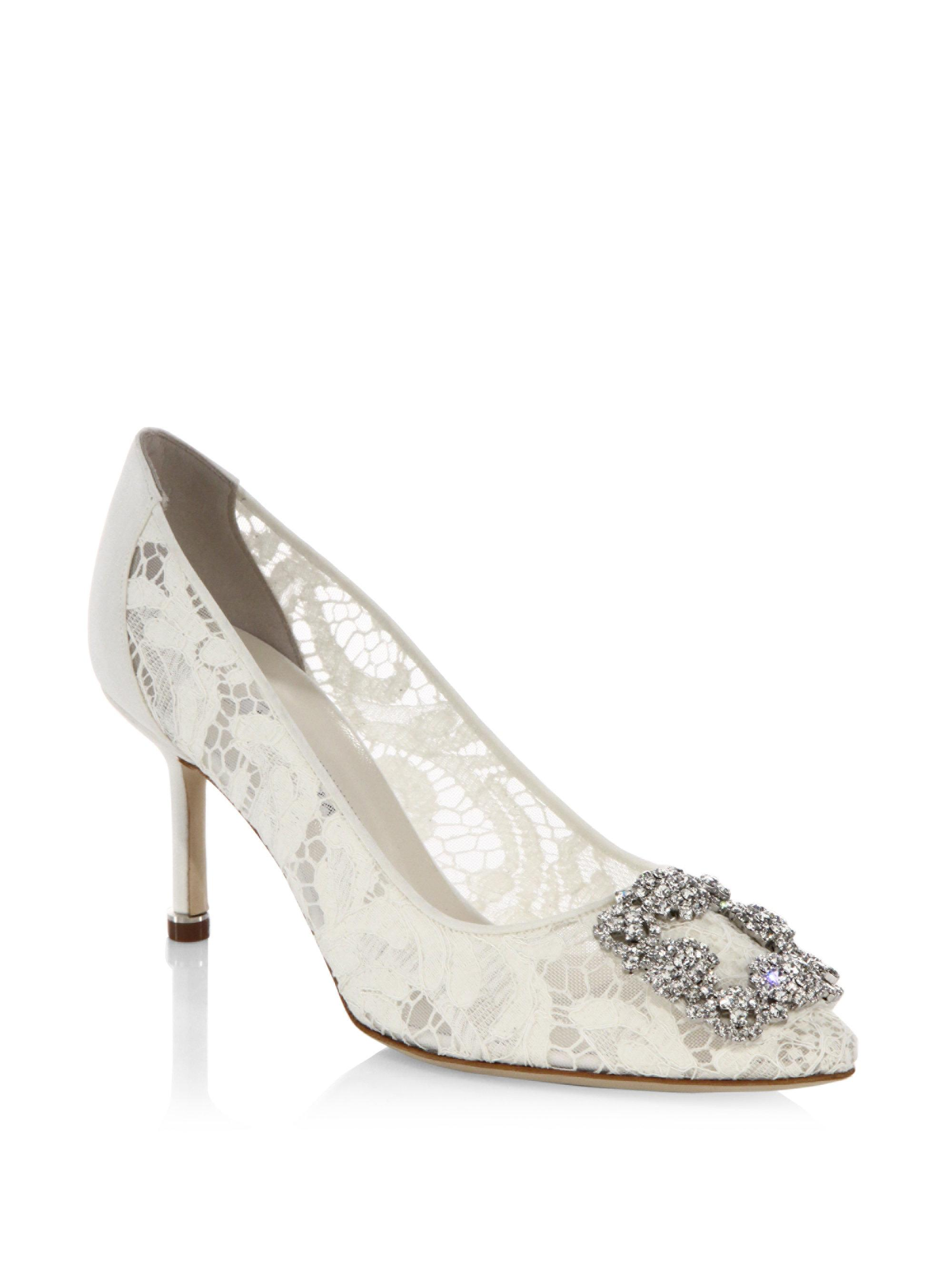 29a2e4b5ff ... cheapest manolo blahnik. womens white hangisi 70 lace pumps f6ab9 c1221