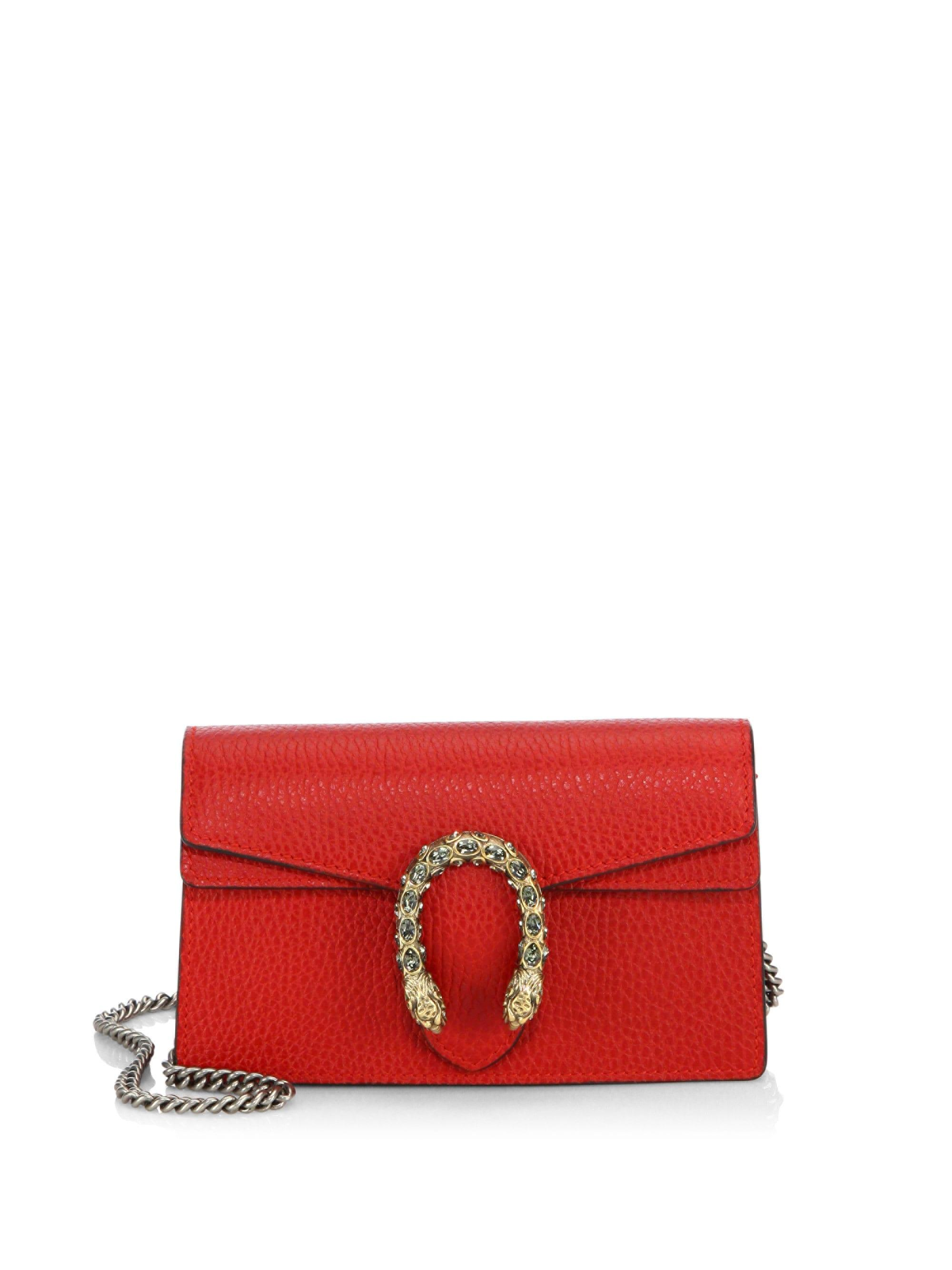 c7d2fdece869a6 Gucci Women's Dionysus Leather Mini Chain Shoulder Bag - Red in Red ...