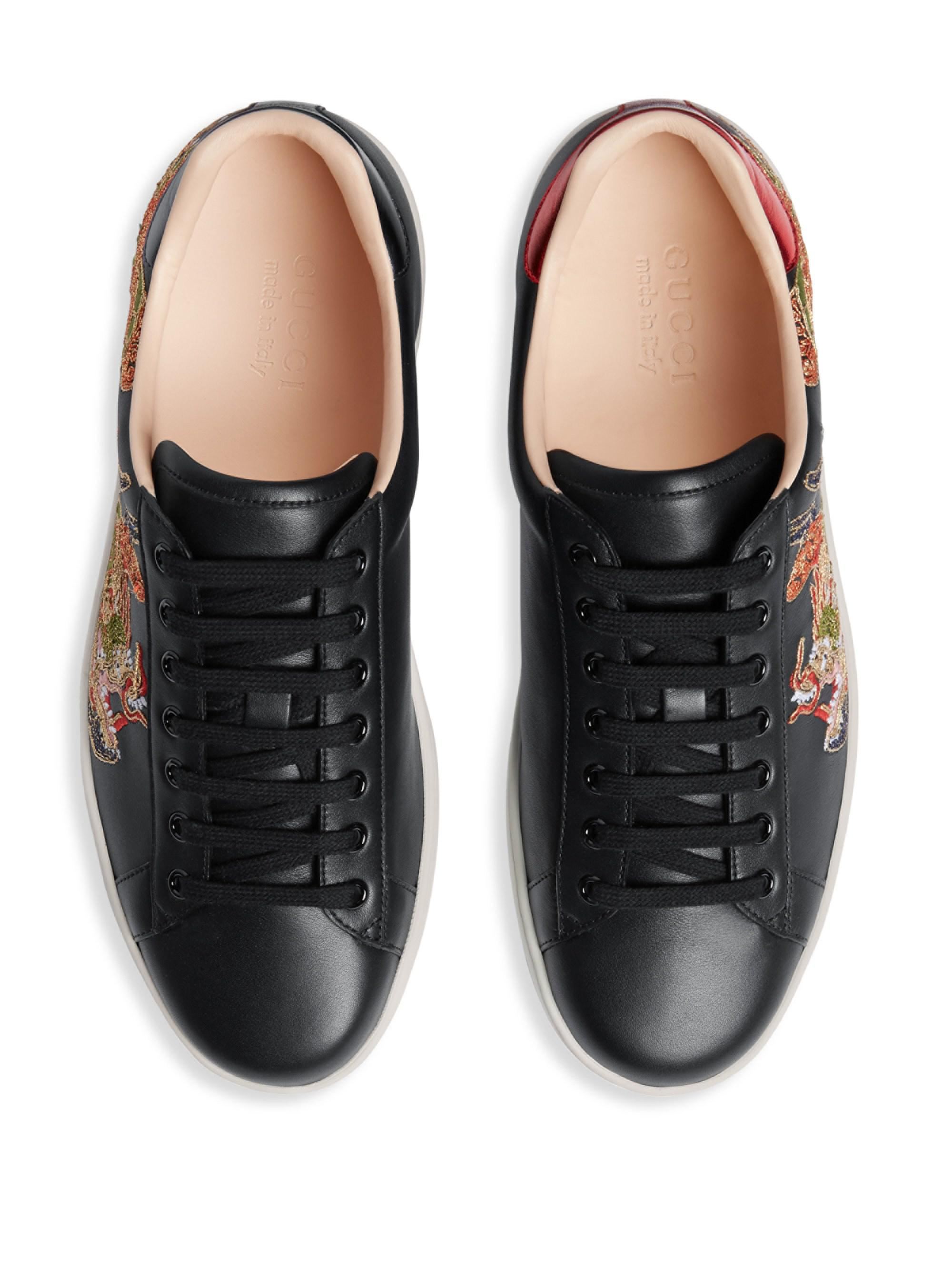 8206b503ebf Lyst - Gucci New Ace Embroidered Sneaker in Black for Men