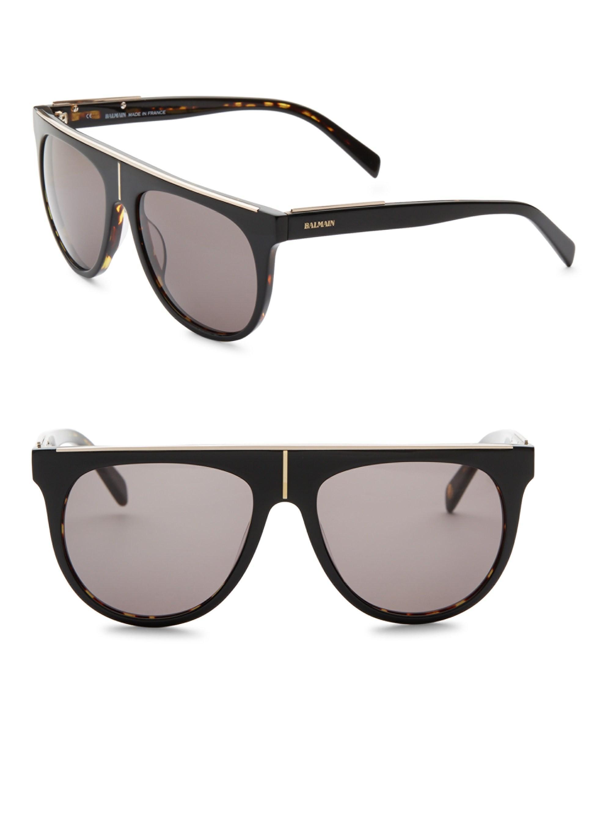 e5d78bd0db5a Balmain Men's Flat Top 55mm Aviator Sunglasses - Black in Black for ...