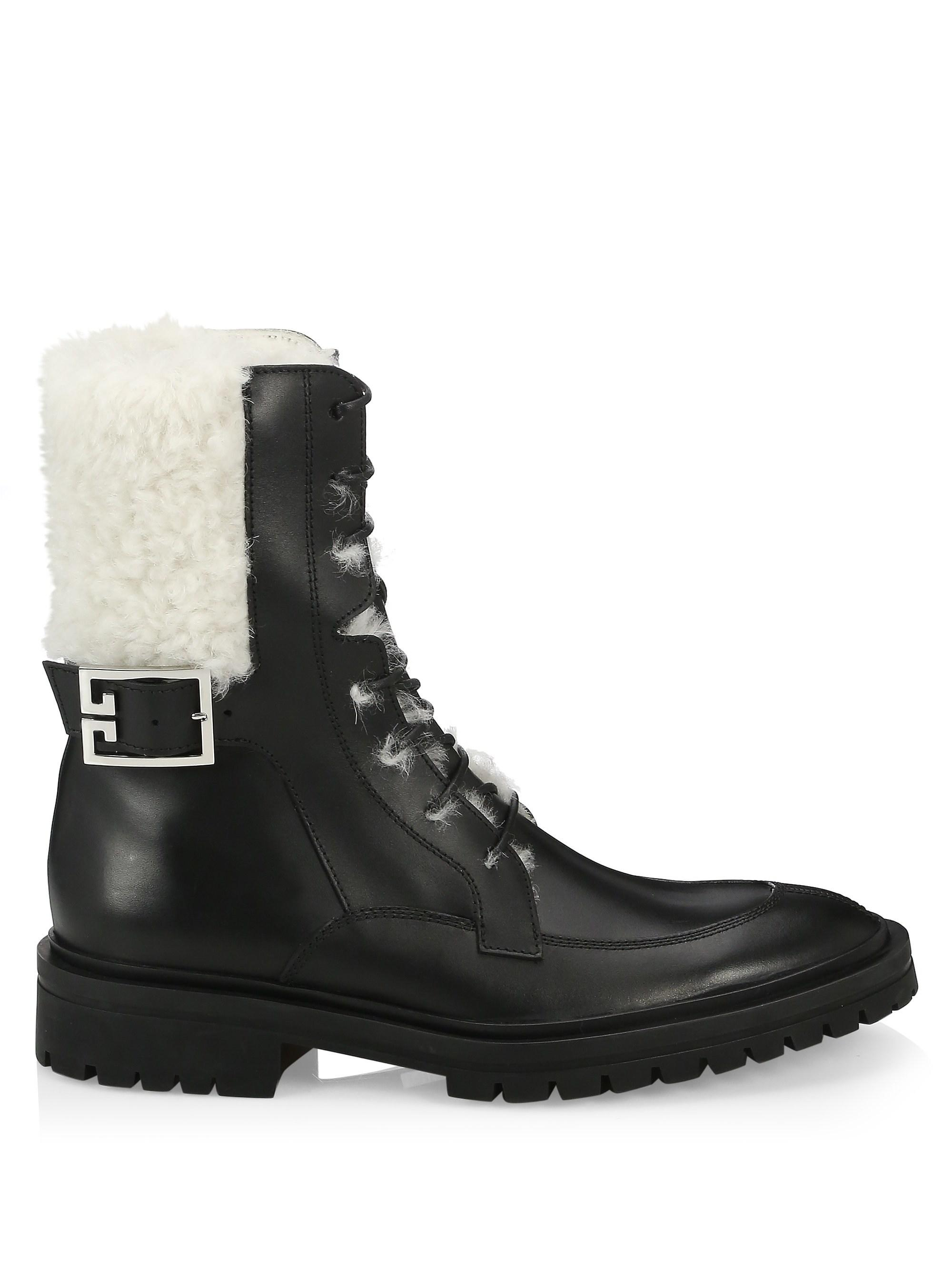 Givenchy Aviator Leather Shearling-Lined Ankle Boots X00Dx5UVKi