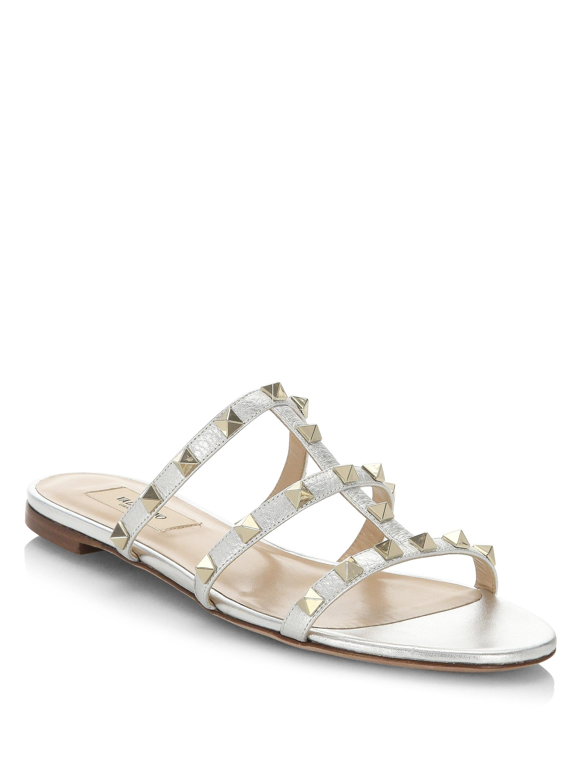 8edb63bed Valentino - Garavani The Rockstud Metallic Textured-leather Sandals - Lyst