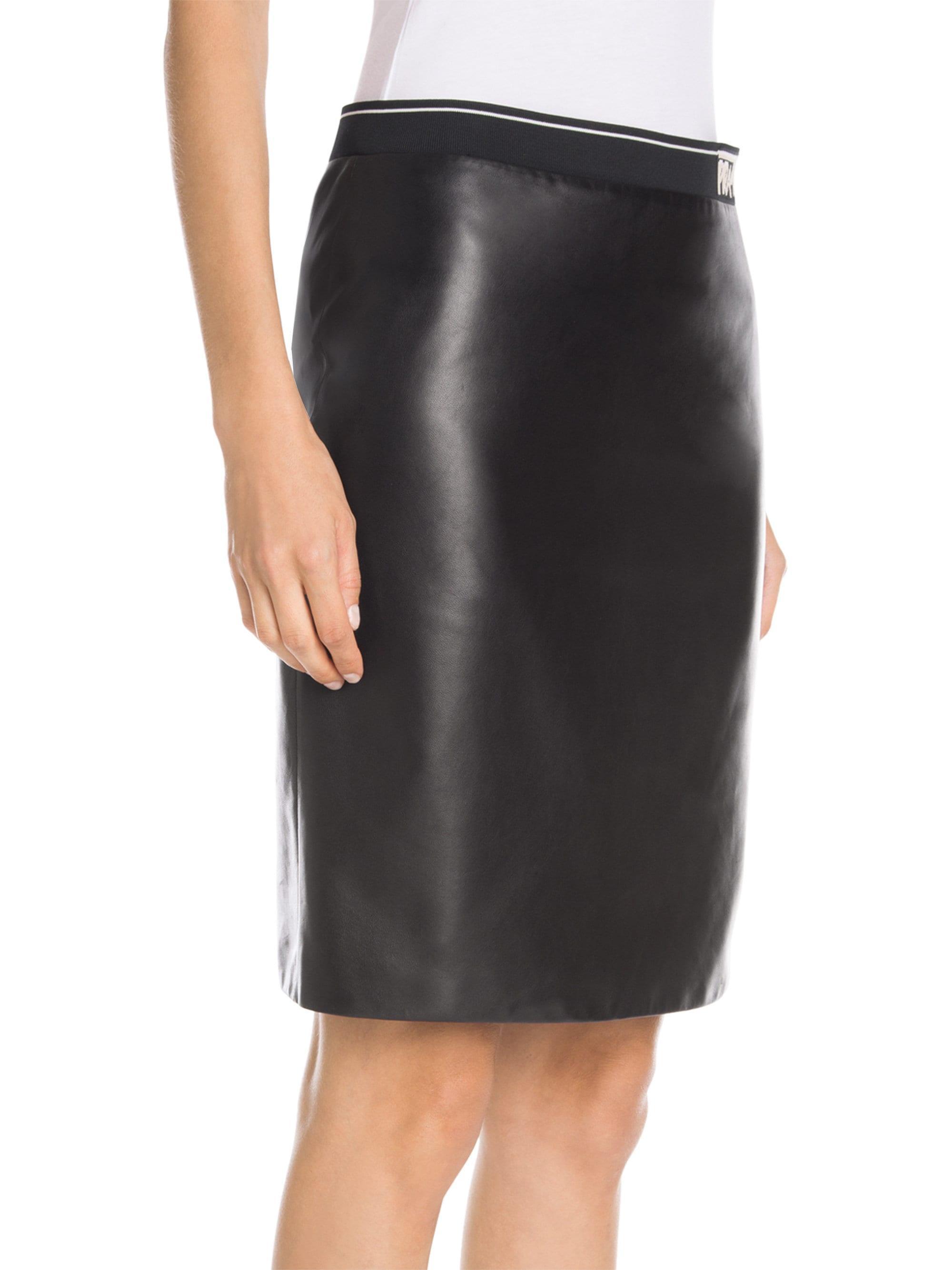 357b1ddfdf Lyst - Prada Logo Waistband Leather Pencil Skirt in Black