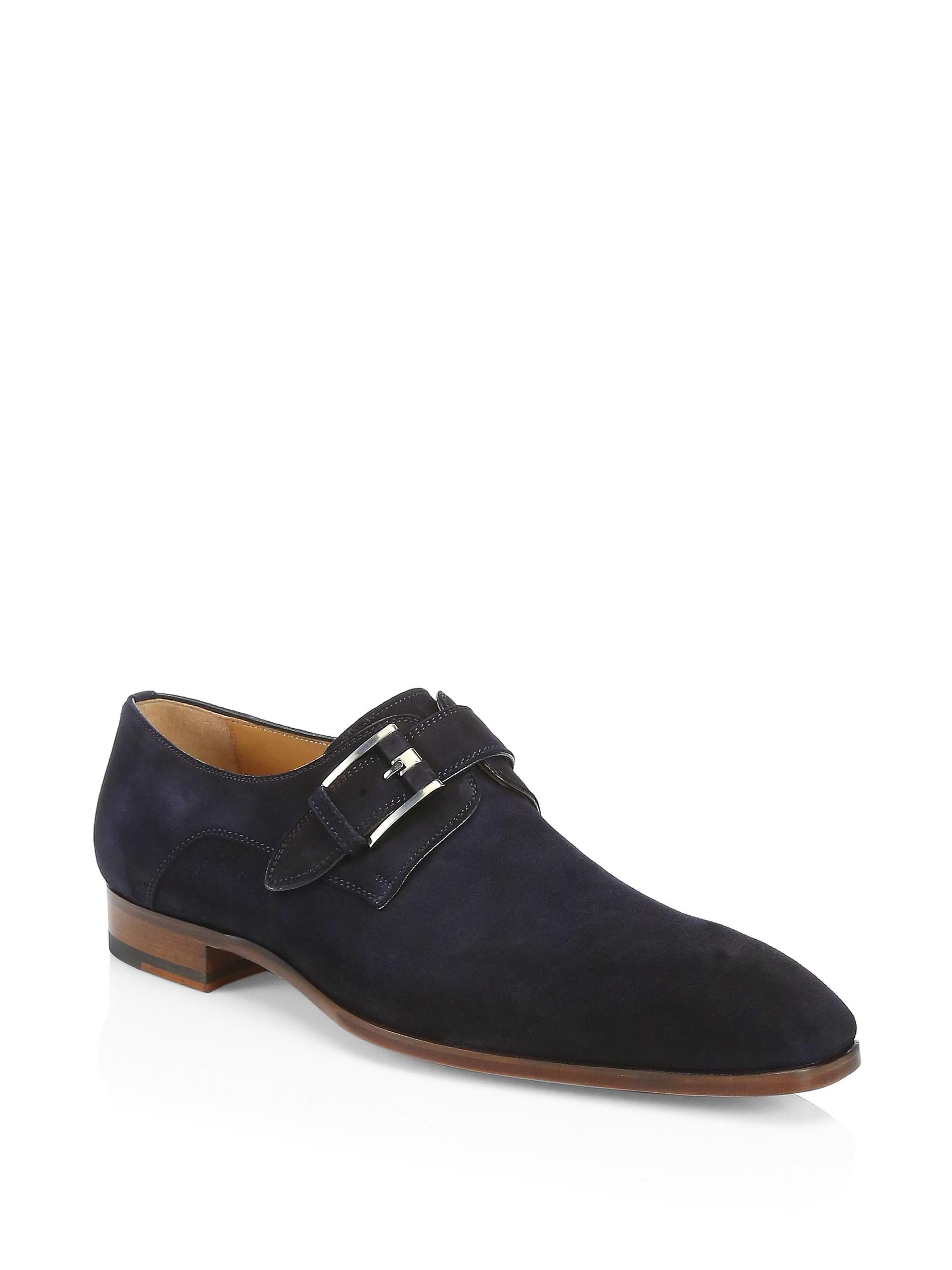 6fdae4f1e12bba Saks Fifth Avenue. Blue Men s Collection By Magnanni Suede Monk Strap Shoes  ...