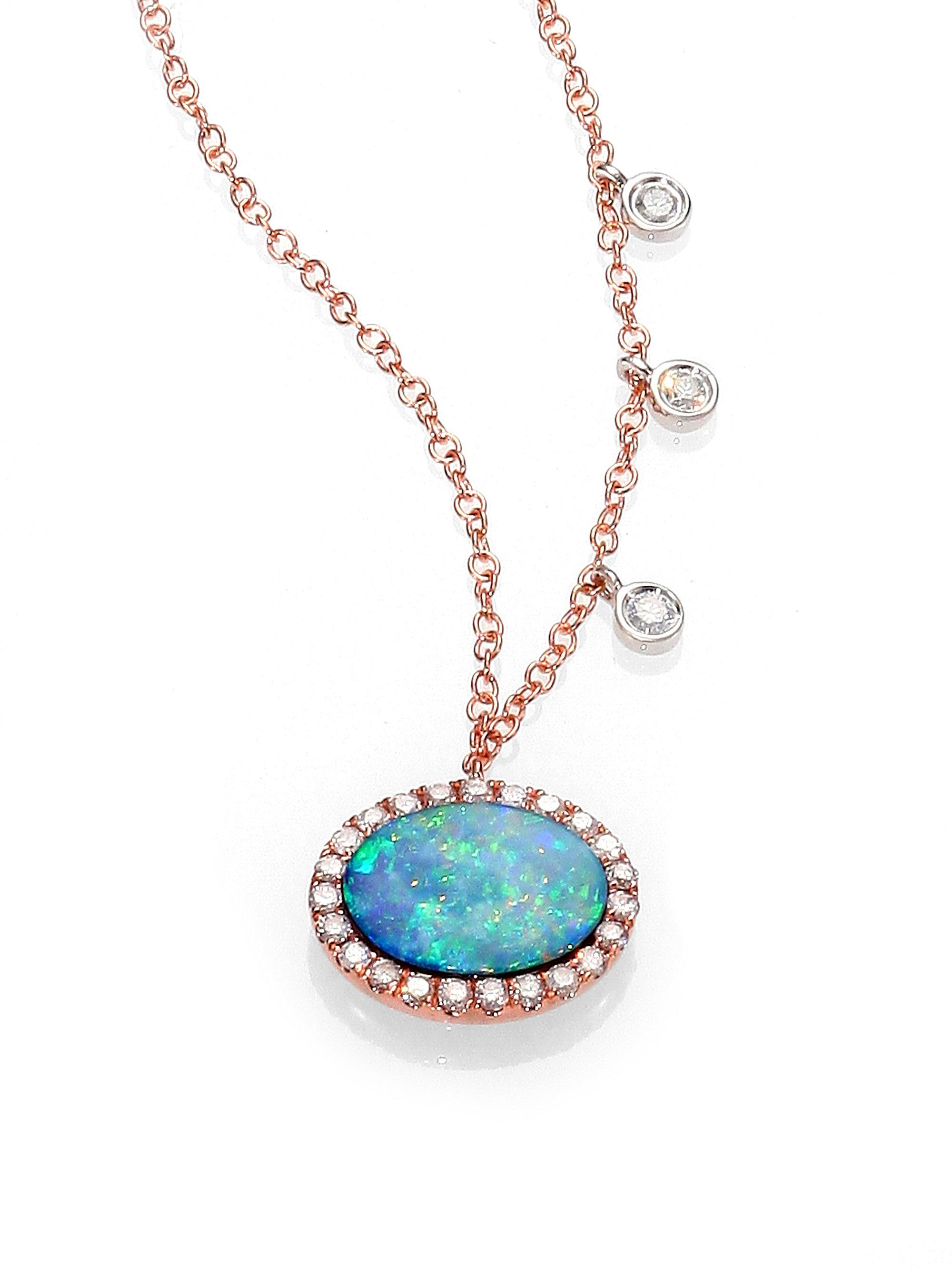 Lyst meira t opal diamond 14k rose gold pendant necklace in blue meira t womens blue opal diamond 14k rose gold pendant necklace aloadofball Gallery