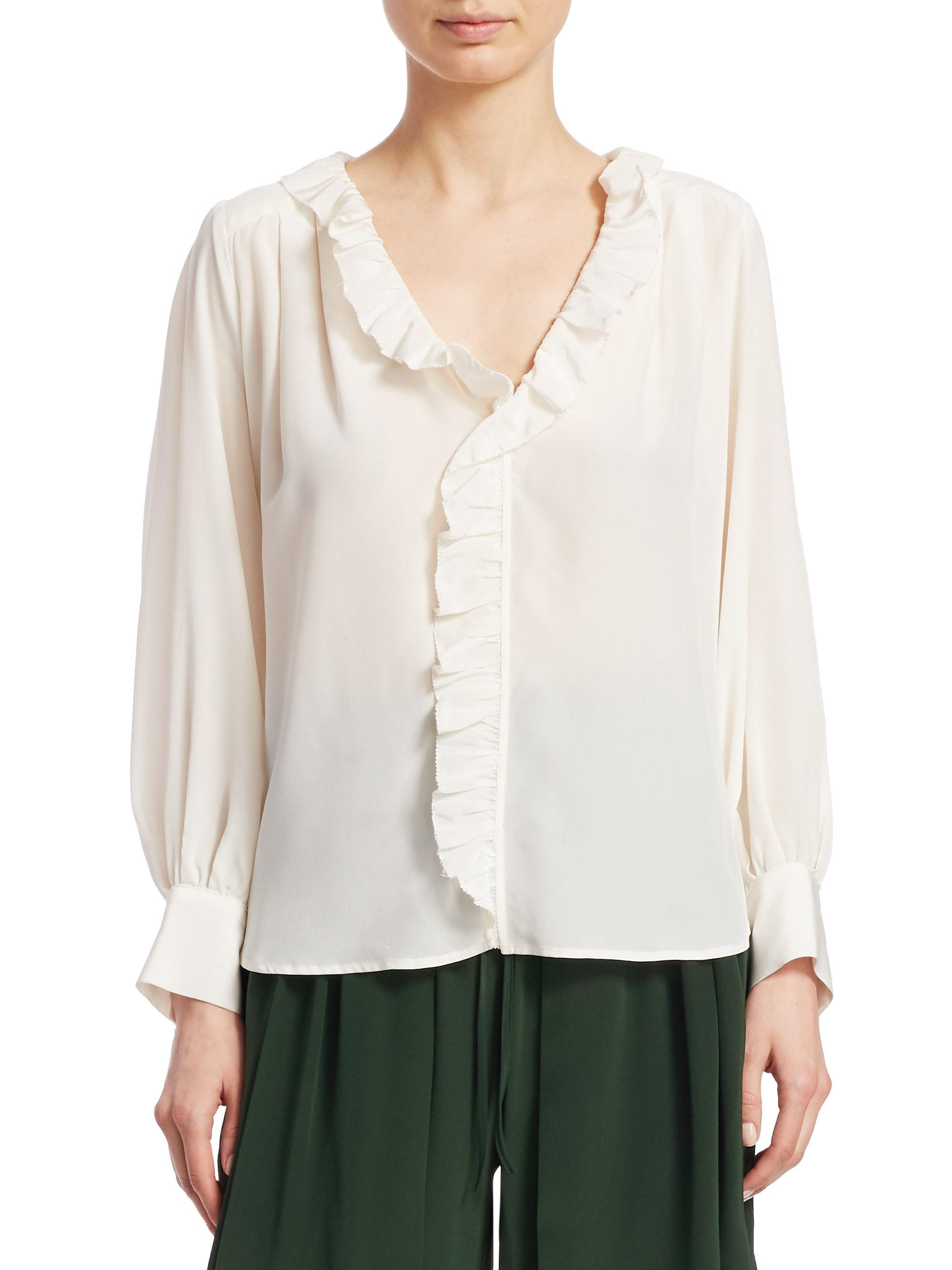 85672751414267 Sea. Women's White Solange Long-sleeve Button-down Ruffle Silk Blouse