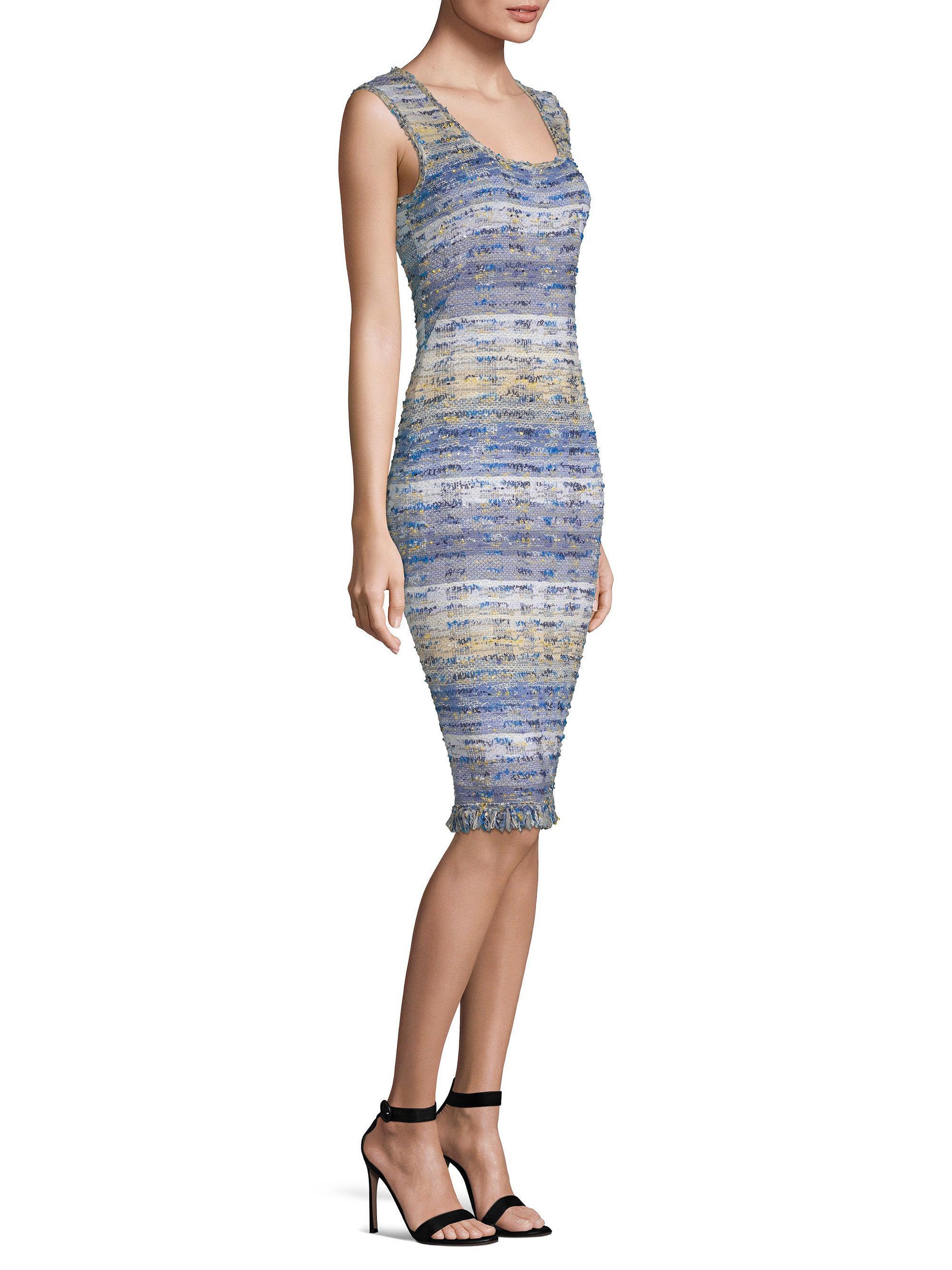 St John Women S Blue Tweed Knit Sheath Dress