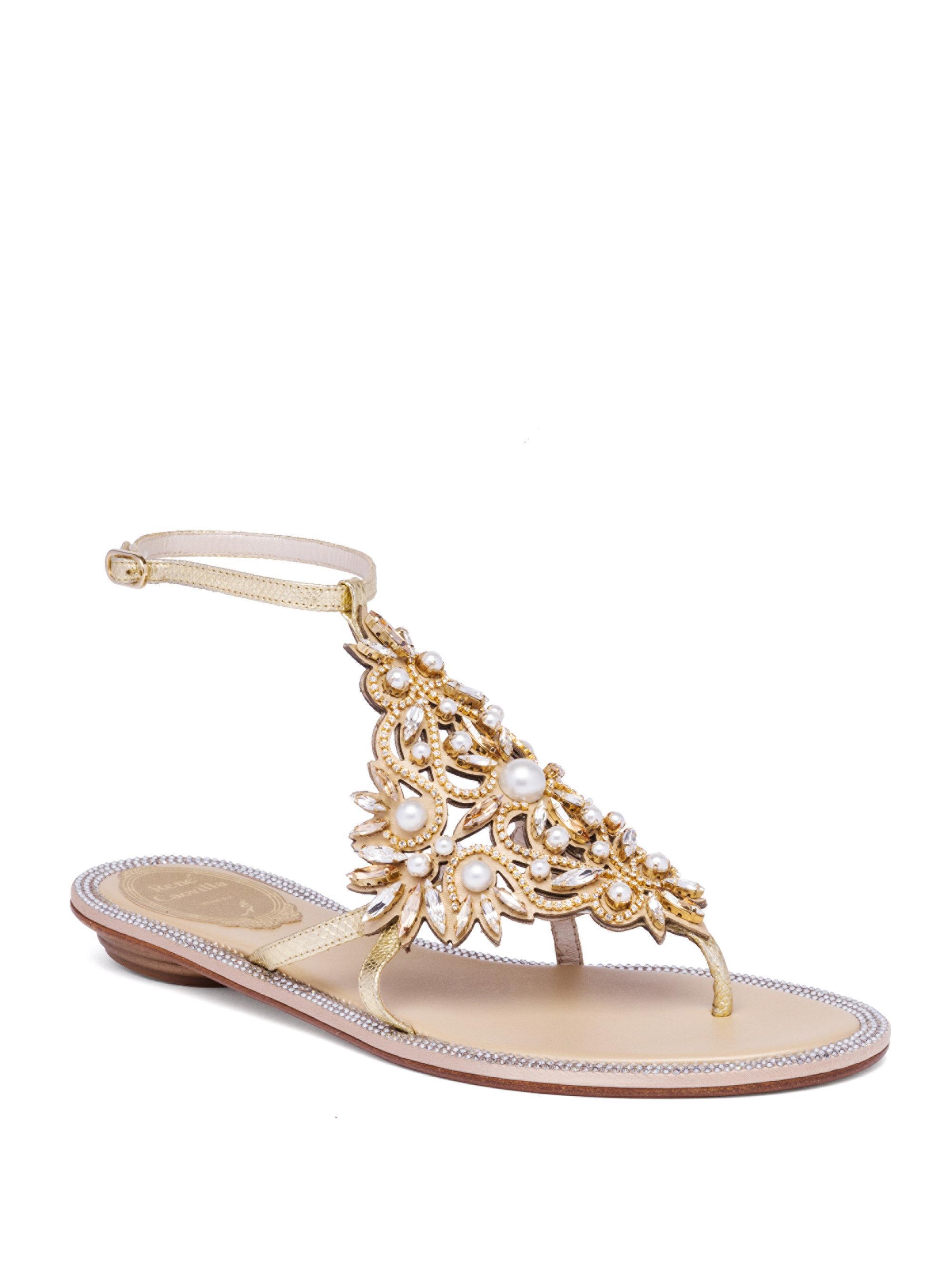 RENé CAOVILLA Embellished Metallic Snakeskin Sandals zJXBODJ