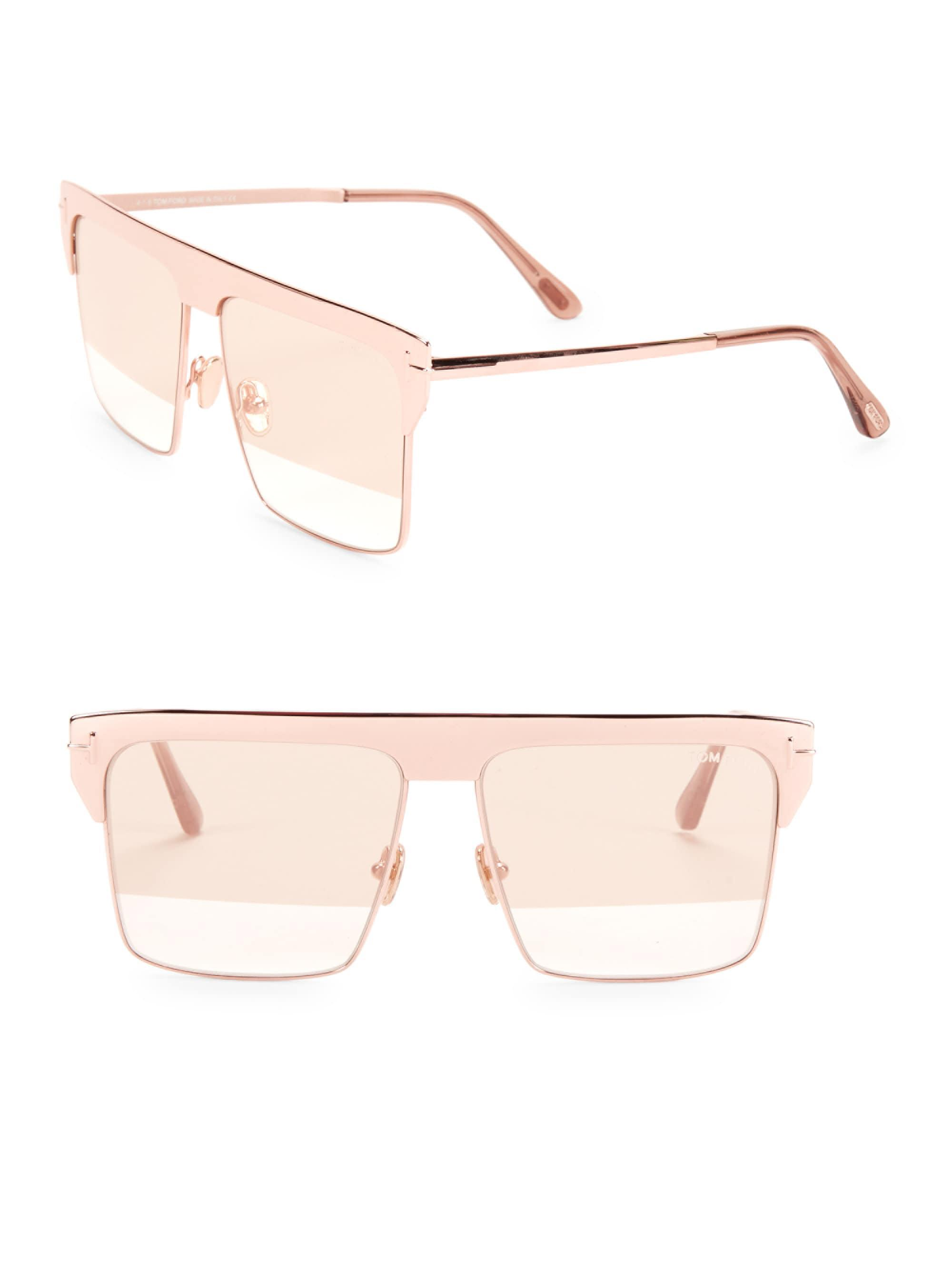 24d8cb04f8e Tom Ford West 59mm Square Rose Goldplated Sunglasses - Lyst
