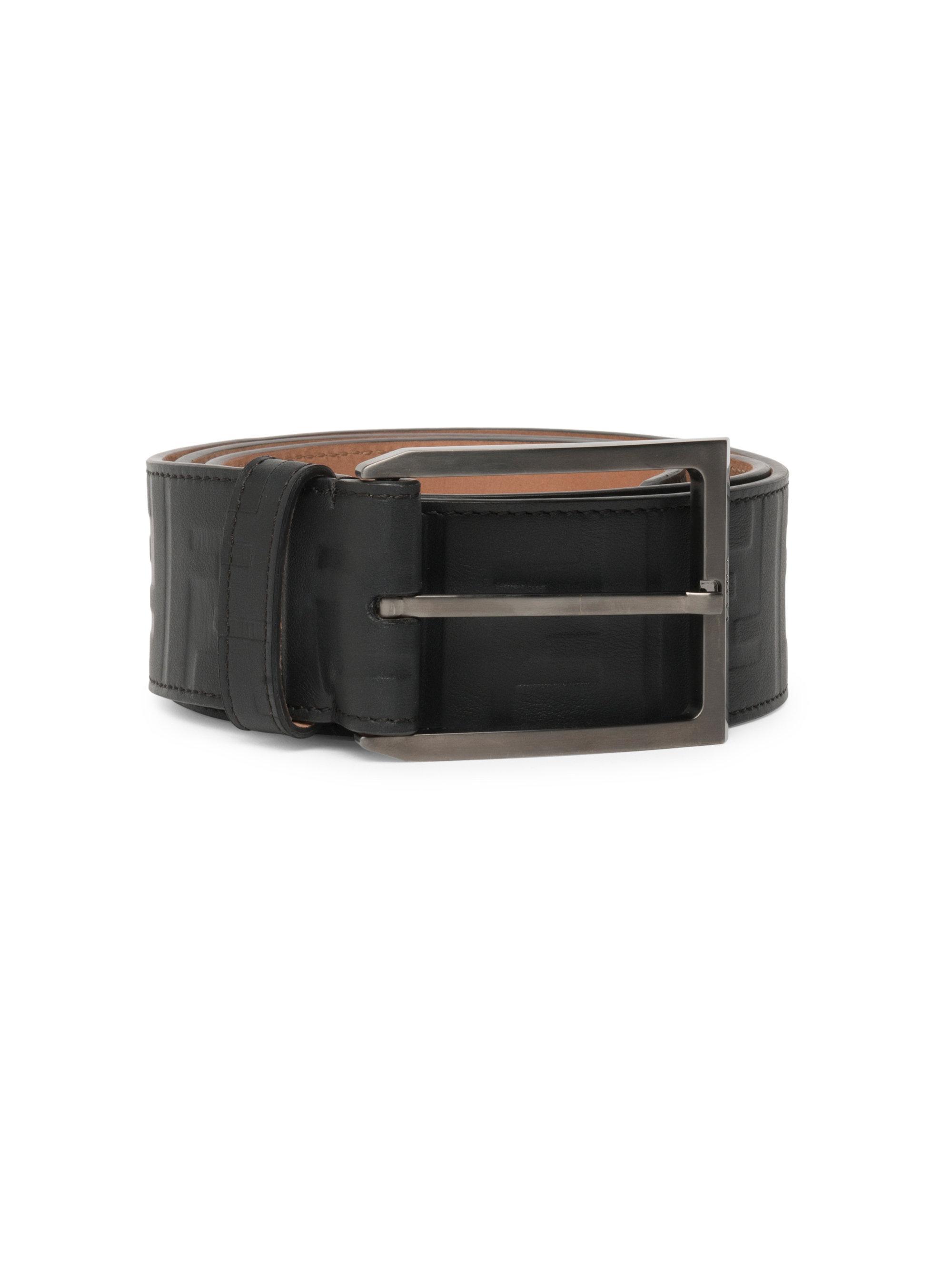 7f93e9243311 Fendi Vitello Grace Zucca Embossed Leather Belt in Black for Men - Lyst