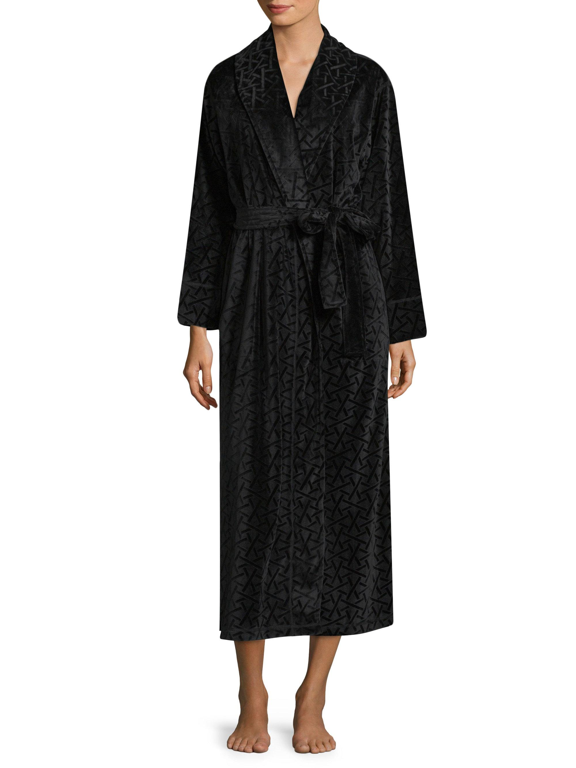 Lyst natori long sleeve robe in black for Saks 5th avenue robes de mariage
