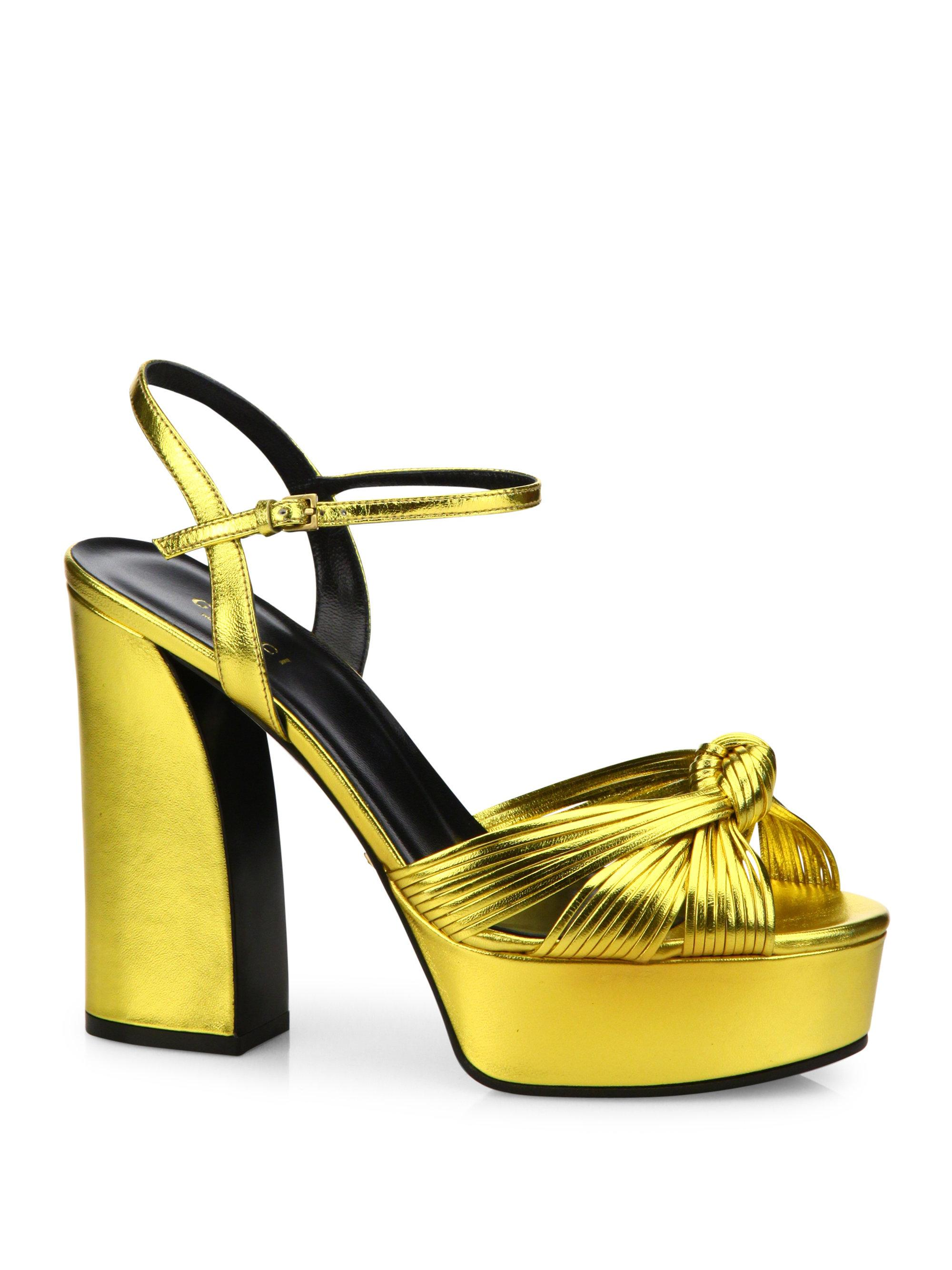 b9c2a7fbb2a3 Gucci Allie Knotted Metallic Leather Platform Sandals in Metallic - Lyst