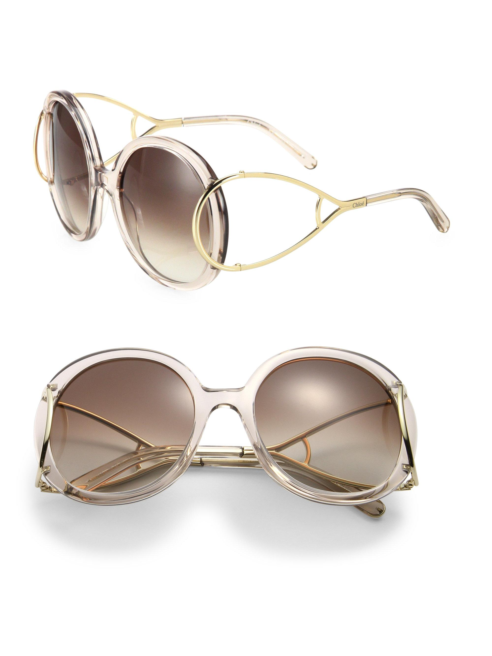 90d8eb0284ad Chloé Jackson 56mm Round Sunglasses in Natural - Lyst