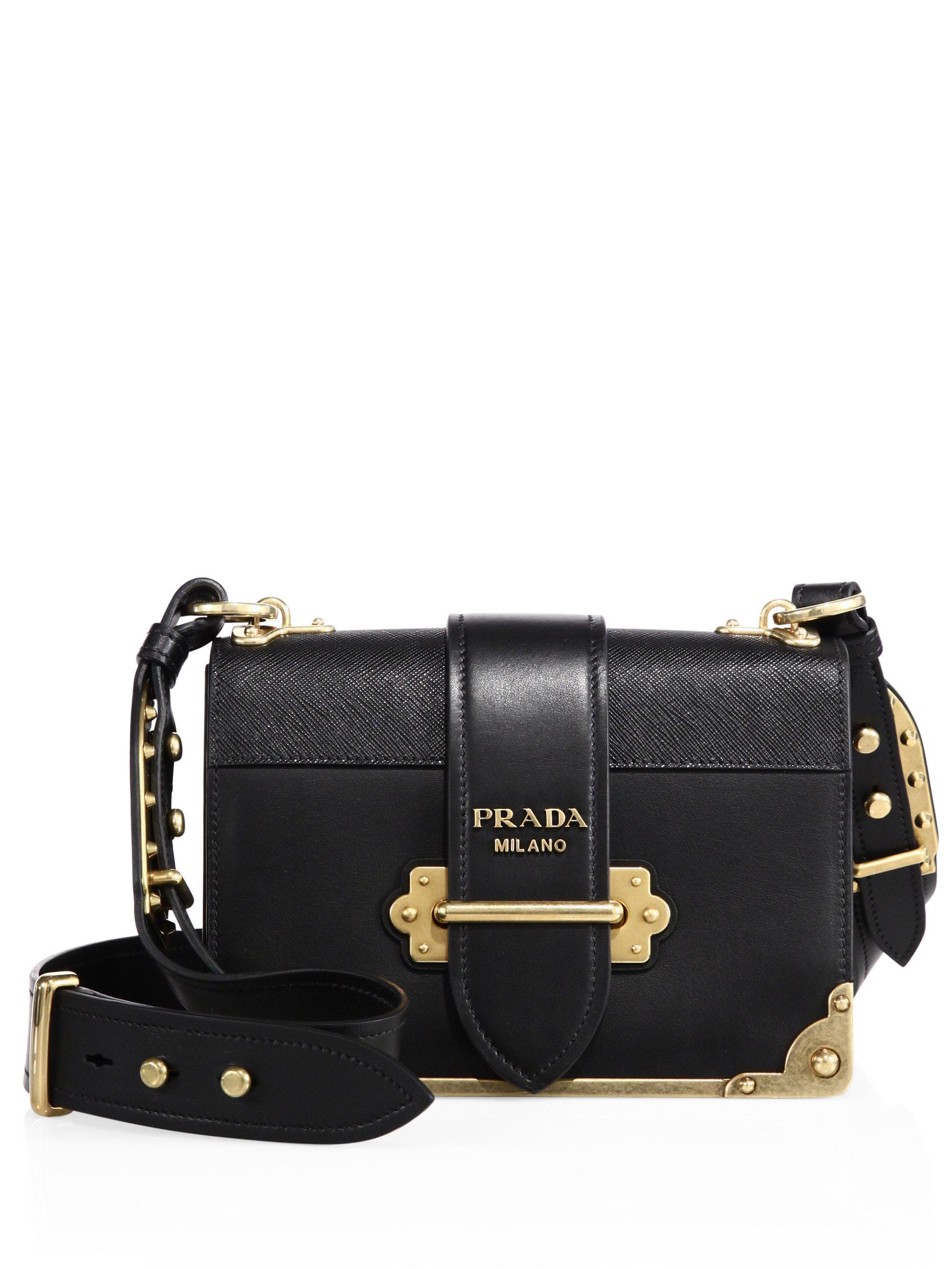 black cahier small leather shoulder bag Prada jQnswJH