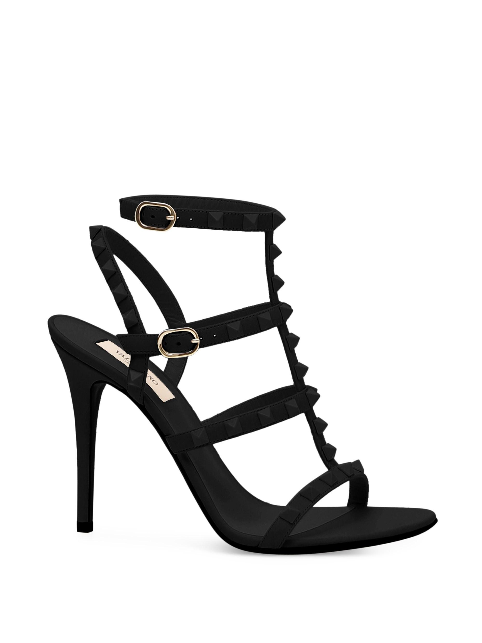 6482b746a498 Lyst - Valentino Rockstud Tonal Leather Cage Sandals in Black