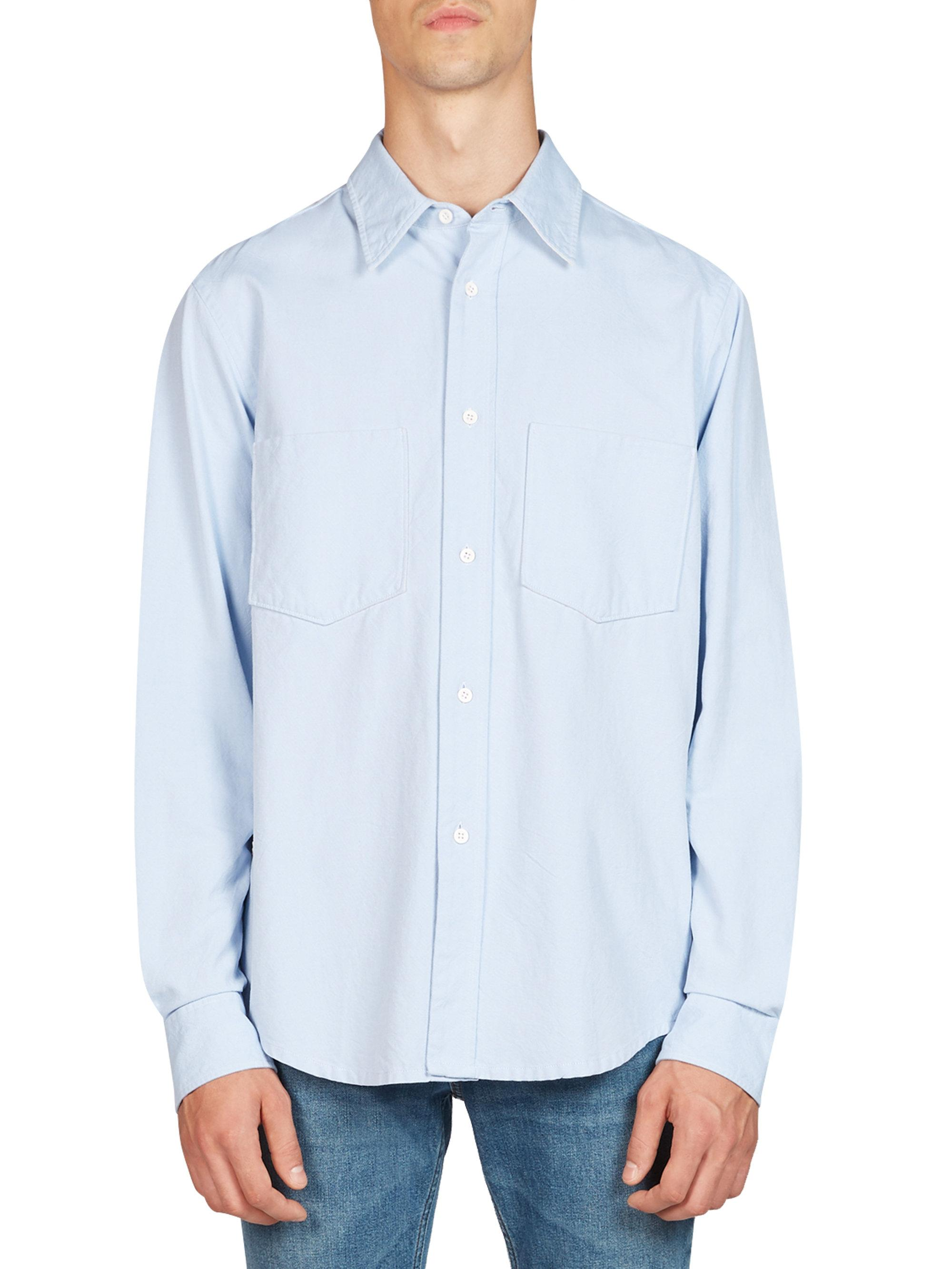 Lyst acne lincoln cotton button down shirt in blue for men for Cotton button down shirts men