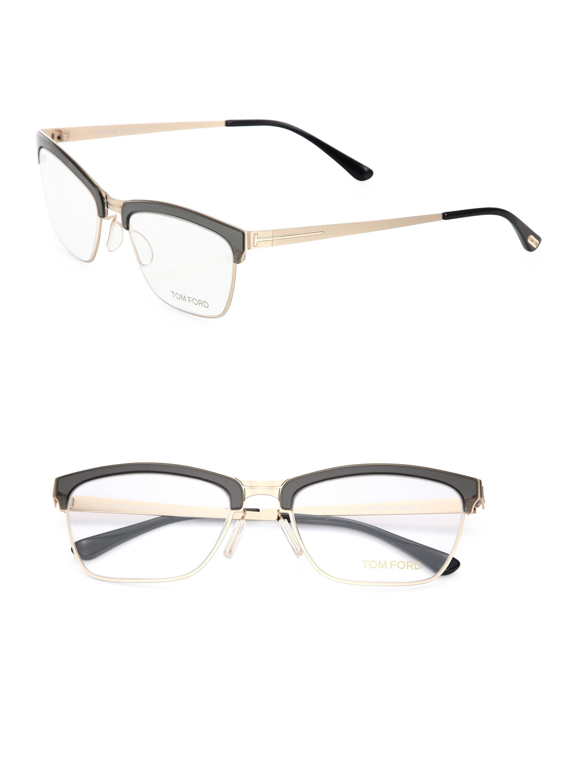 4e4a1b21e6 Tom Ford 54mm Metal Soft Square Optical Glasses in Metallic - Lyst