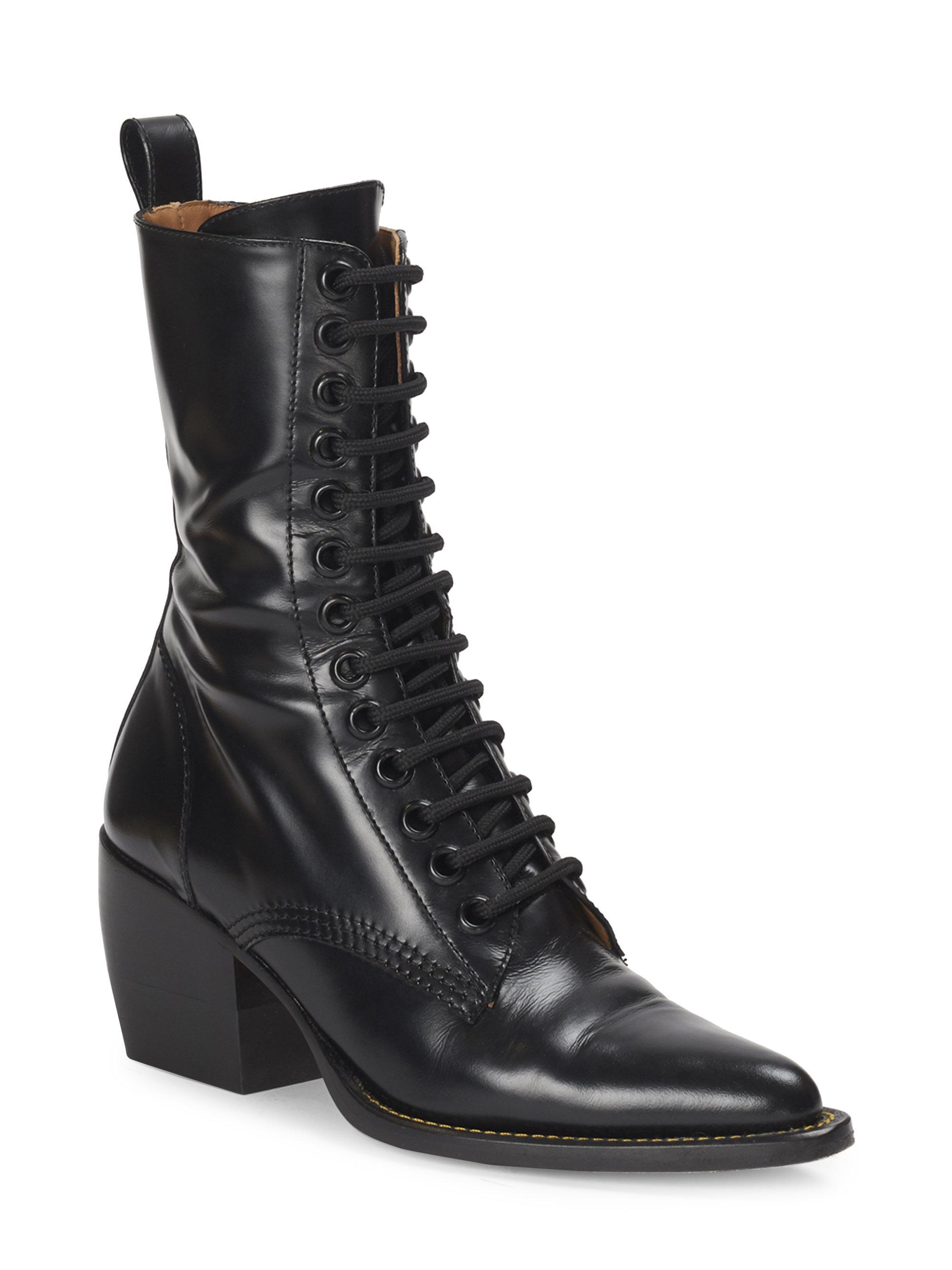 3f82668bd6 Chloé Rylee Lace-up Leather Mid-calf Boots in Black - Lyst