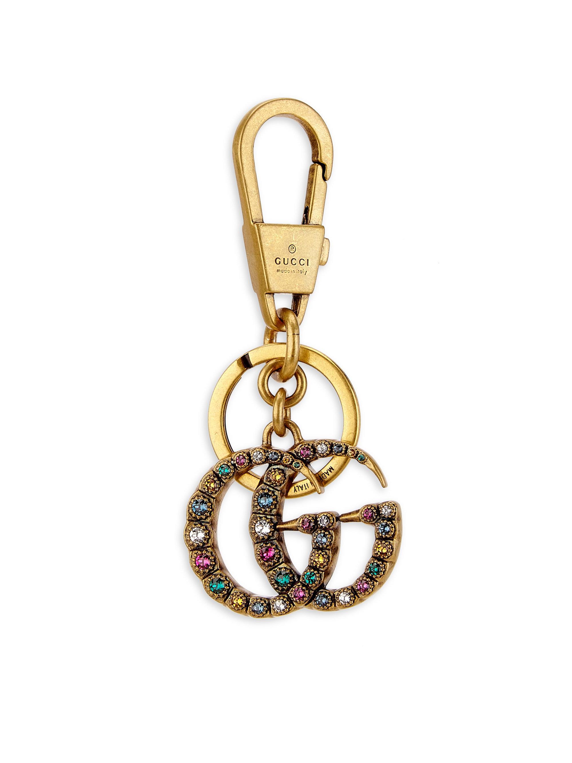 e7118287ab9 Lyst - Gucci Embellished Crystal Gg Keychain in Metallic