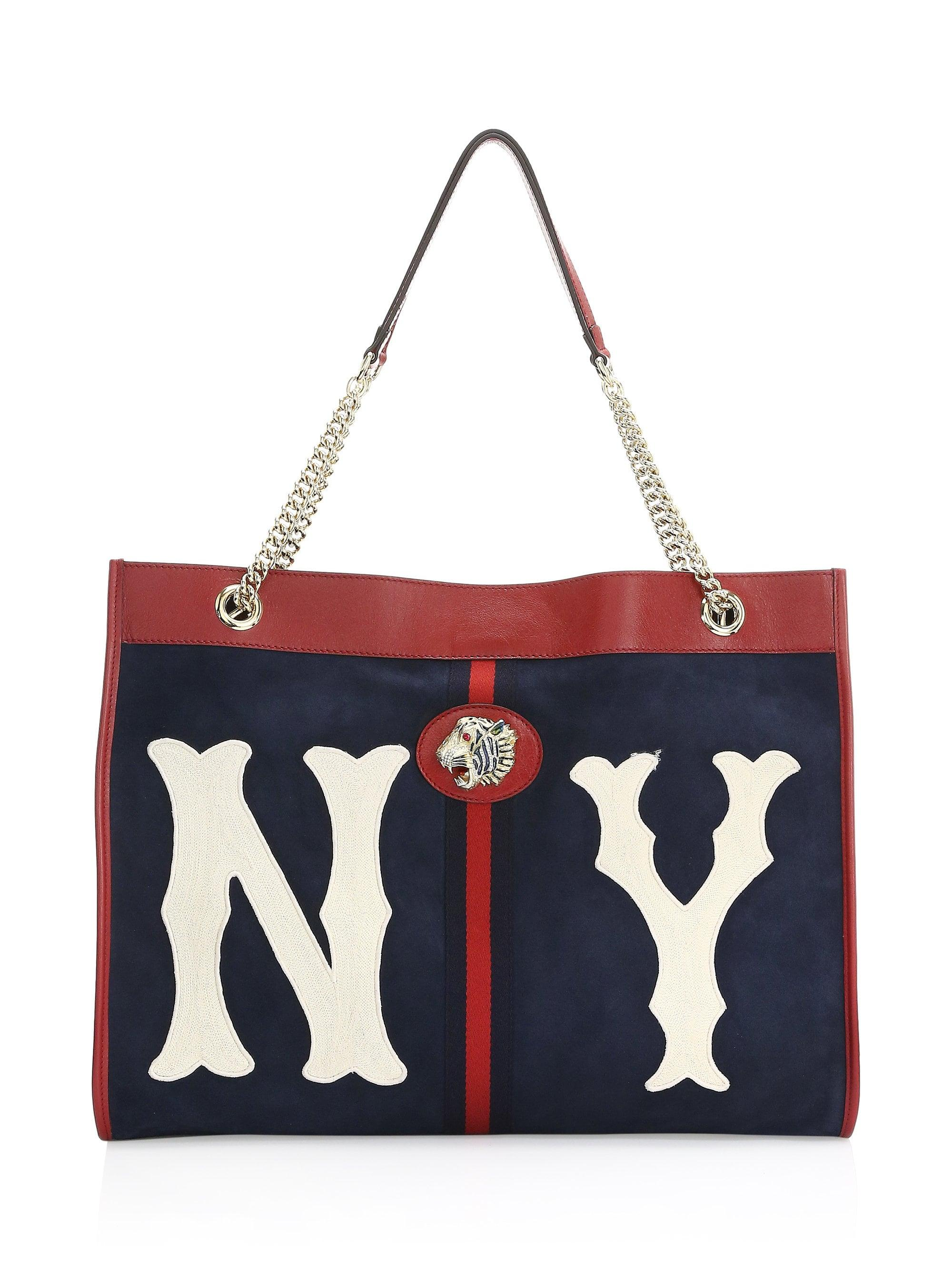 c3b243daf48 Lyst - Gucci Rajah Large Suede Tote Bag With Ny Yankees Mlb Patch in ...