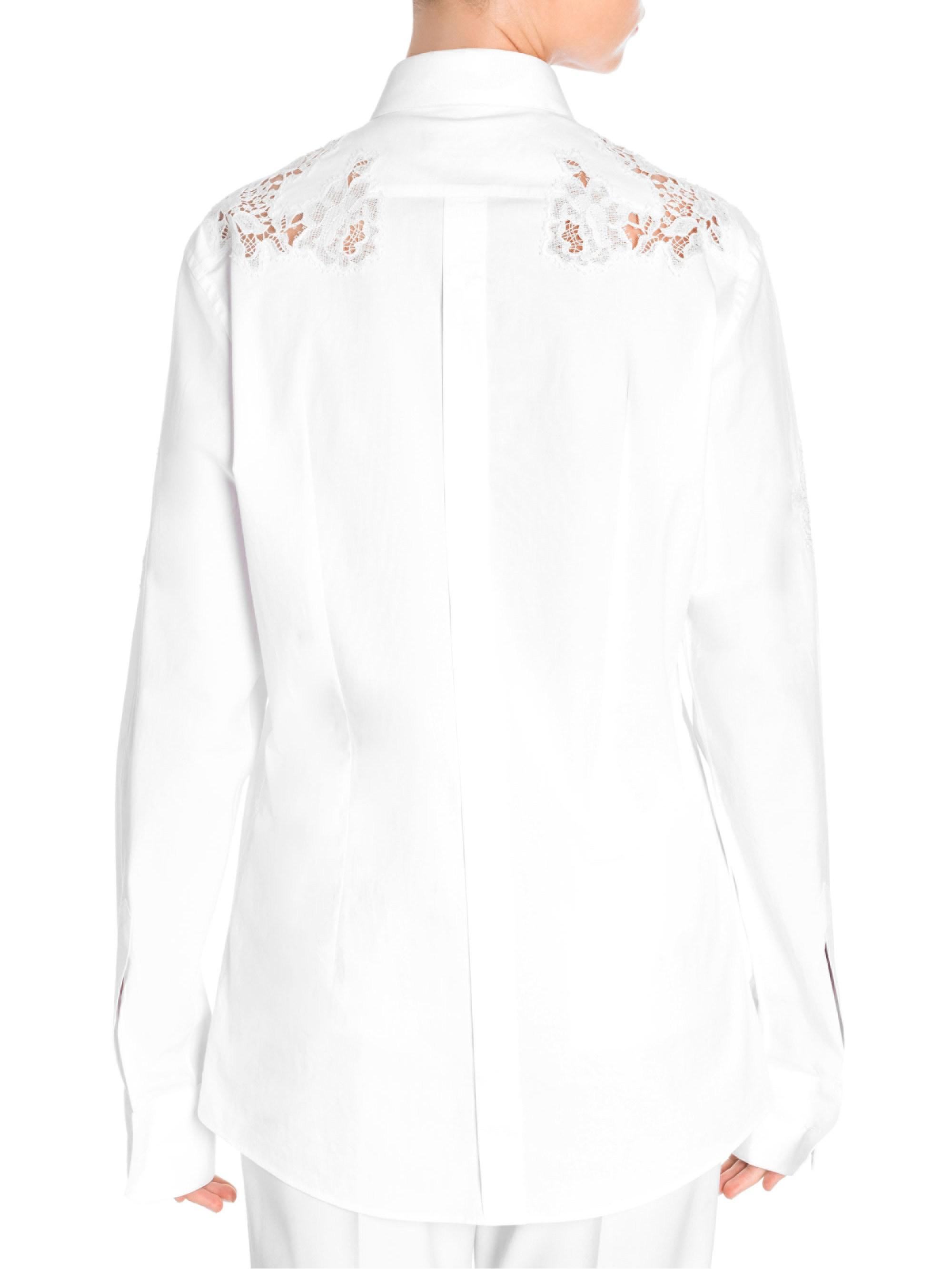 9da1190c Dolce & Gabbana Lace Inset Button-down Poplin Shirt in White - Lyst