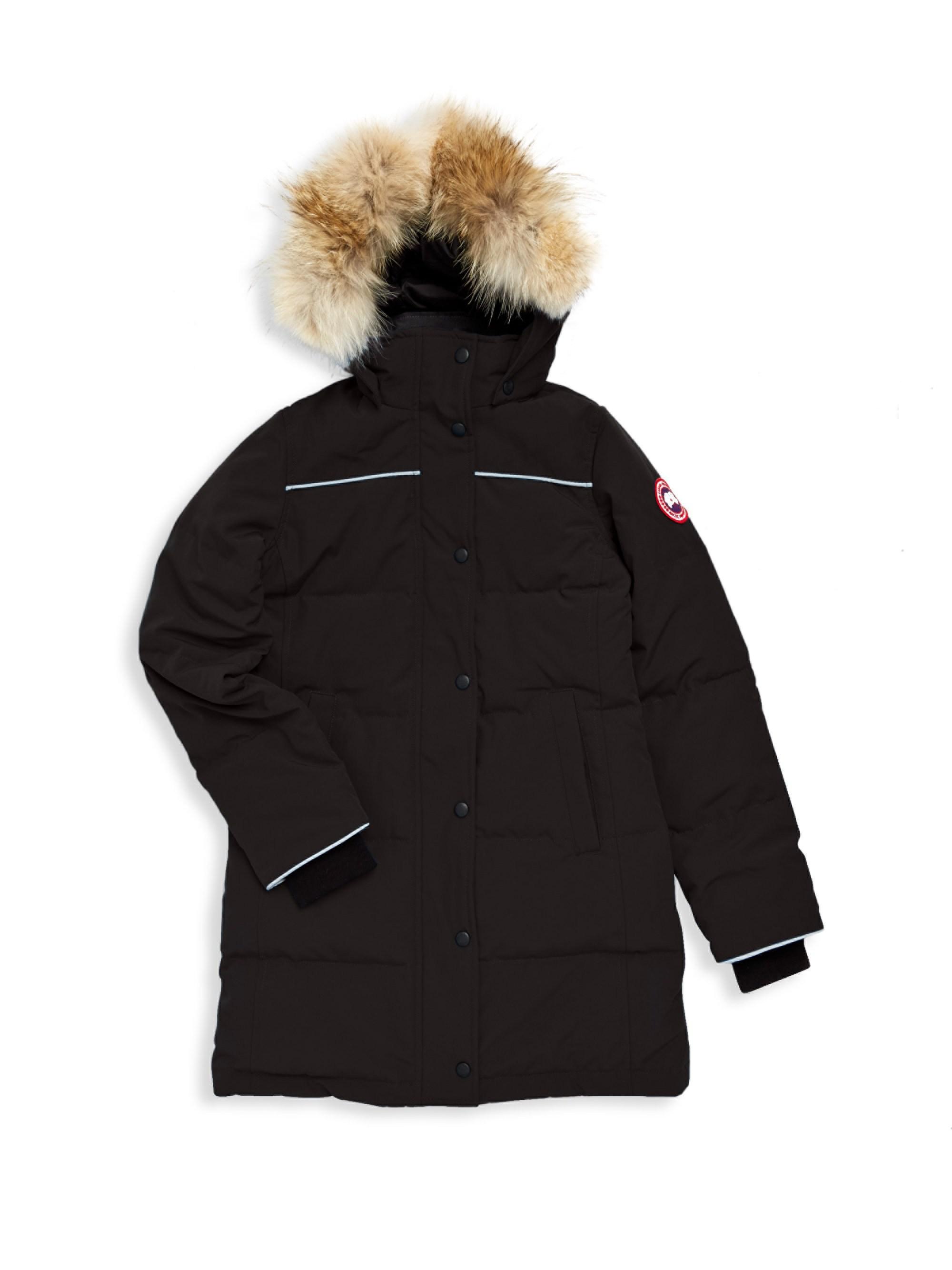 e17de65158c Canada Goose Youth Juniper Fur-trim Parka in Black - Lyst