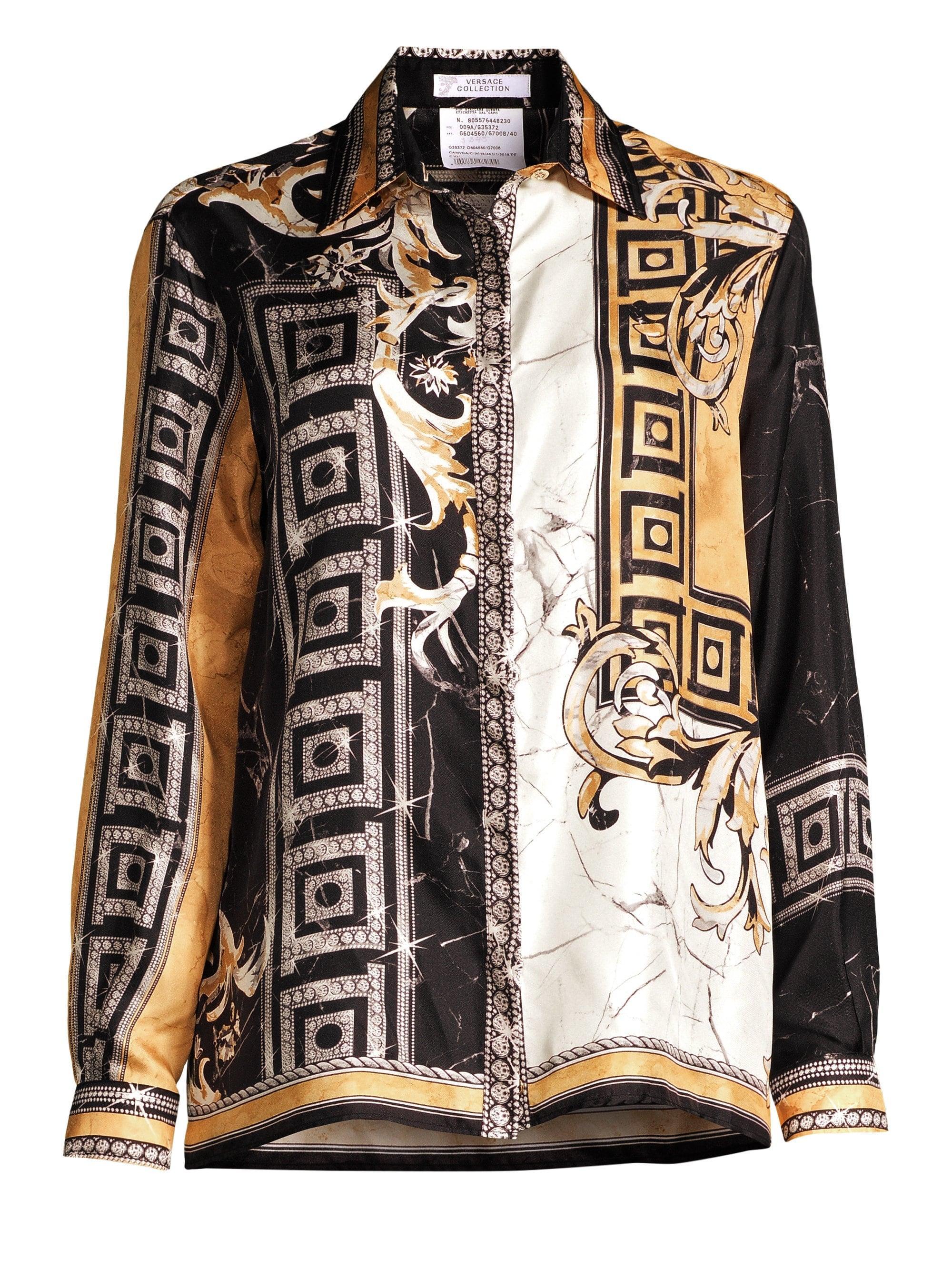 488e1250 Versace - Black Marble Barocco Print Silk Shirt - Lyst. View fullscreen