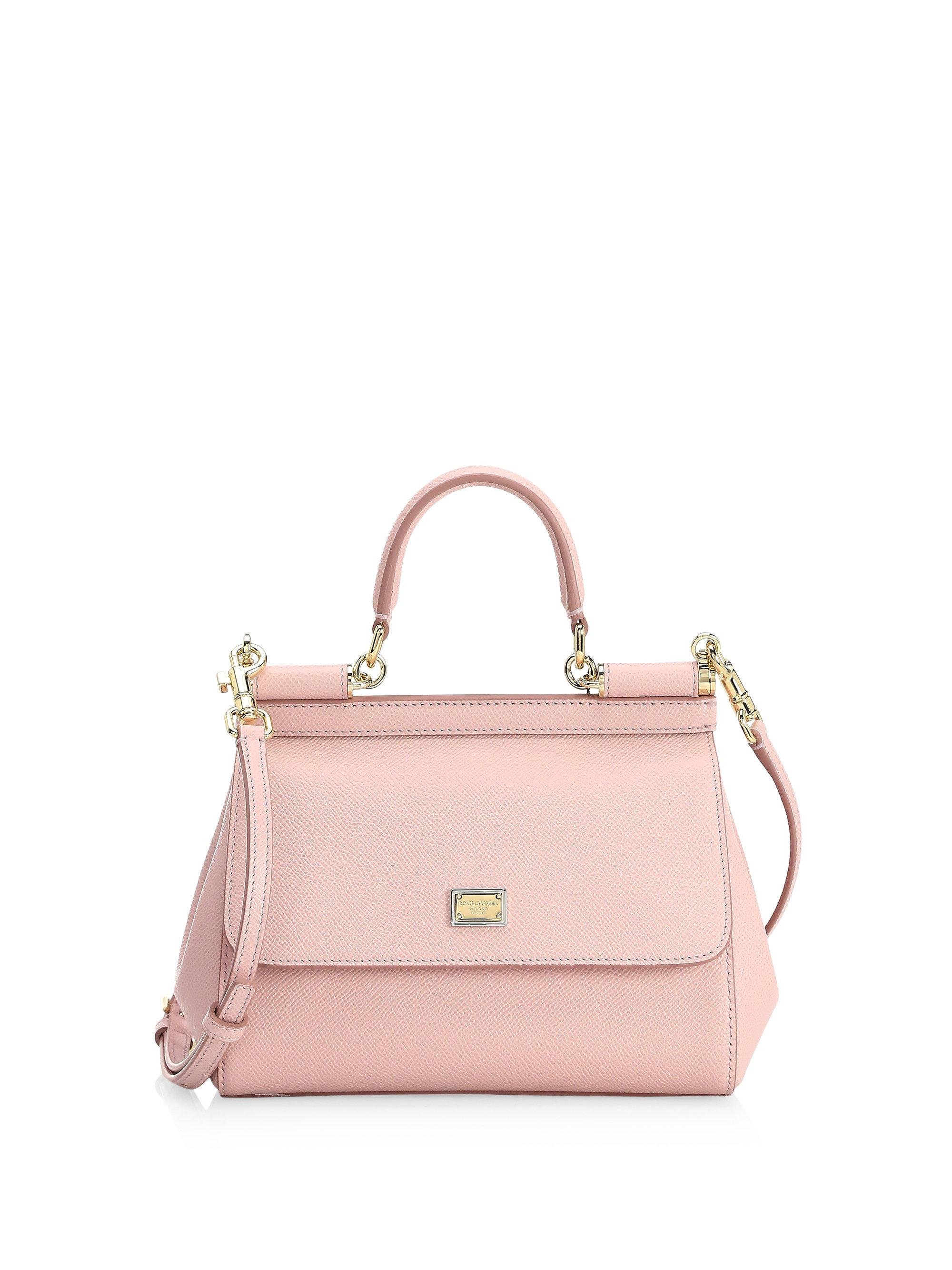 a7c2b2f55b Dolce & Gabbana Small Sicily Leather Top Handle Satchel in Pink - Lyst